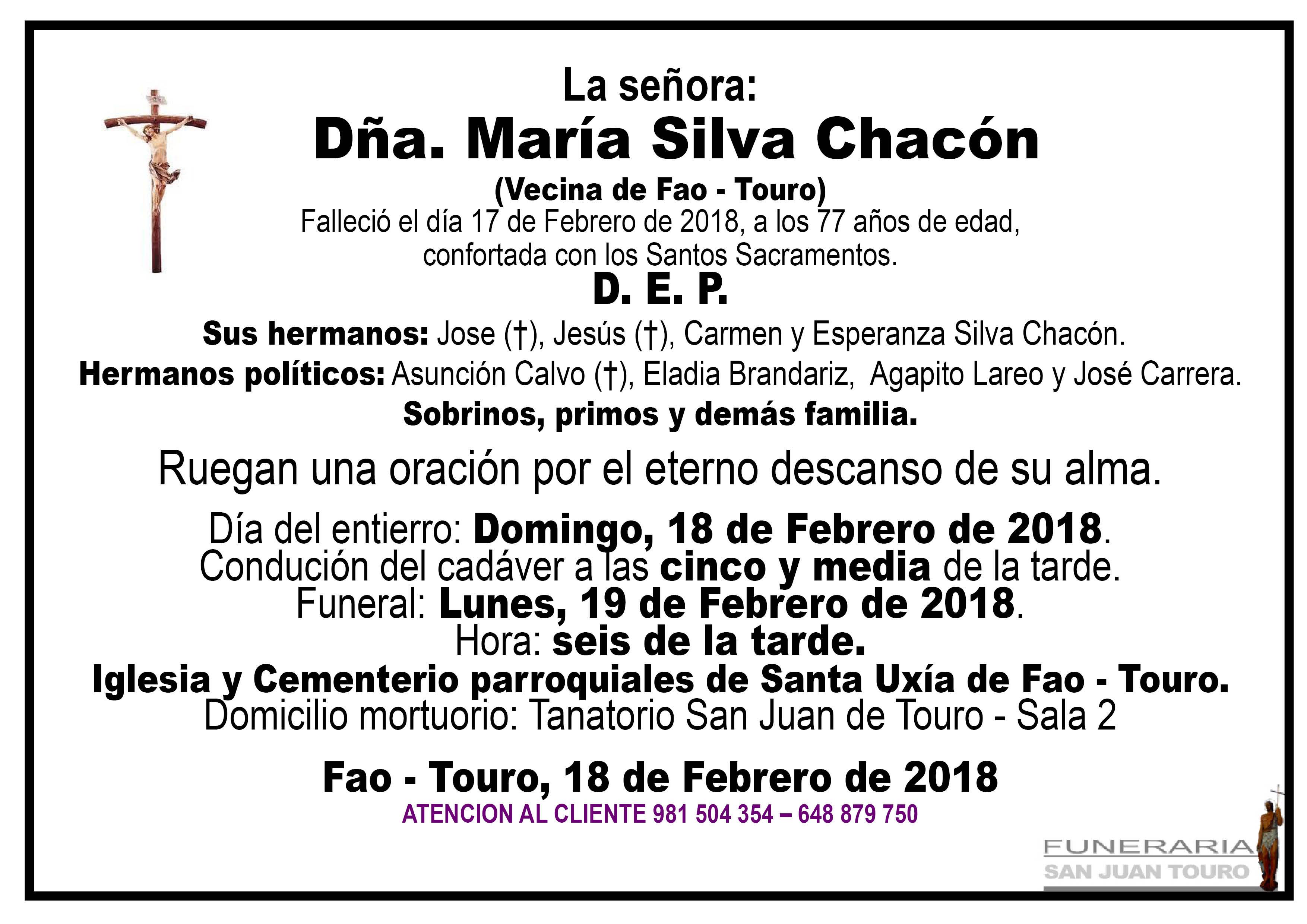 Esquela de SEPELIO DE DOÑA MARÍA SILVA CHACÓN