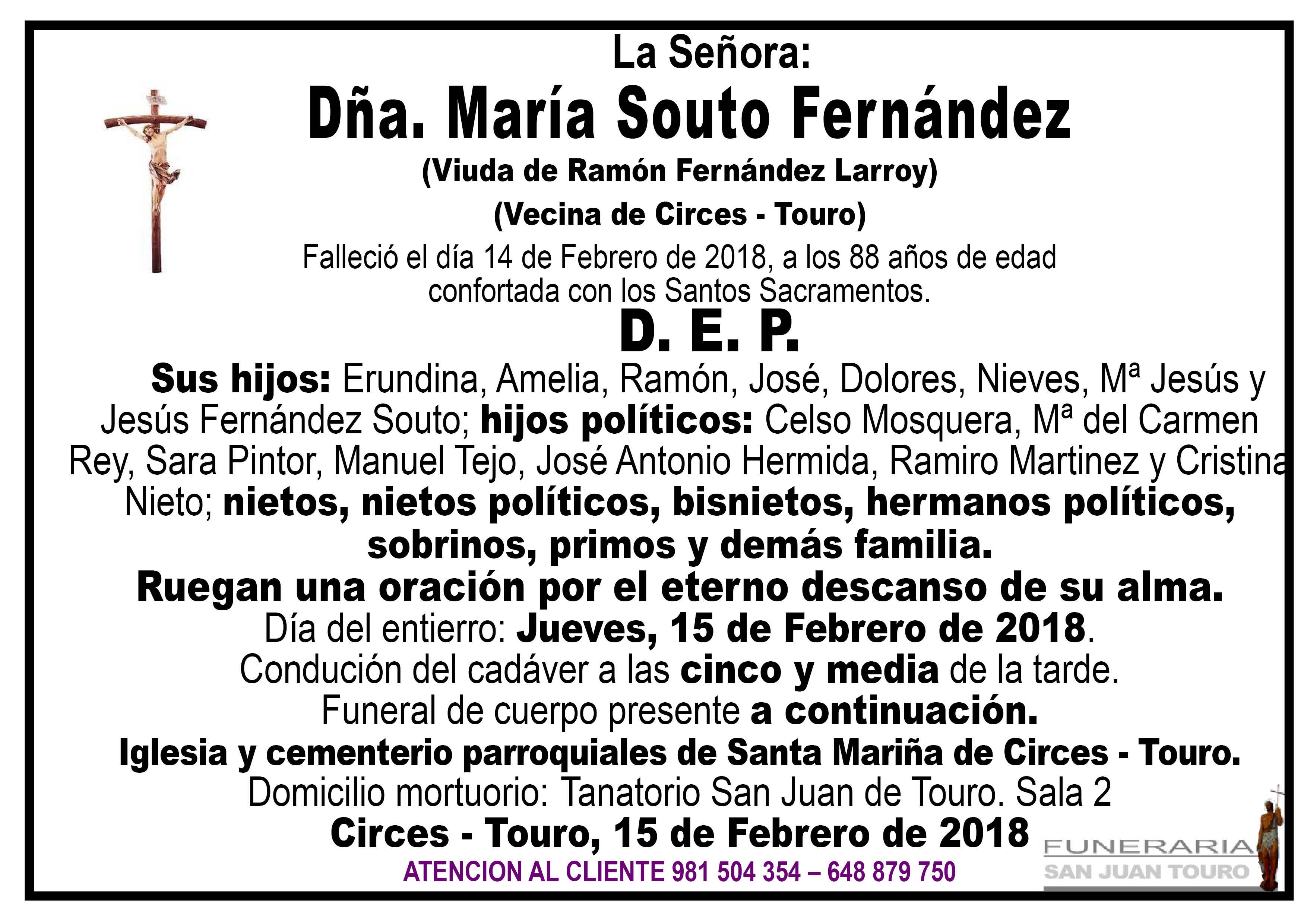 Esquela de SEPELIO DE DOÑA MARÍA SOUTO FERNÁNDEZ