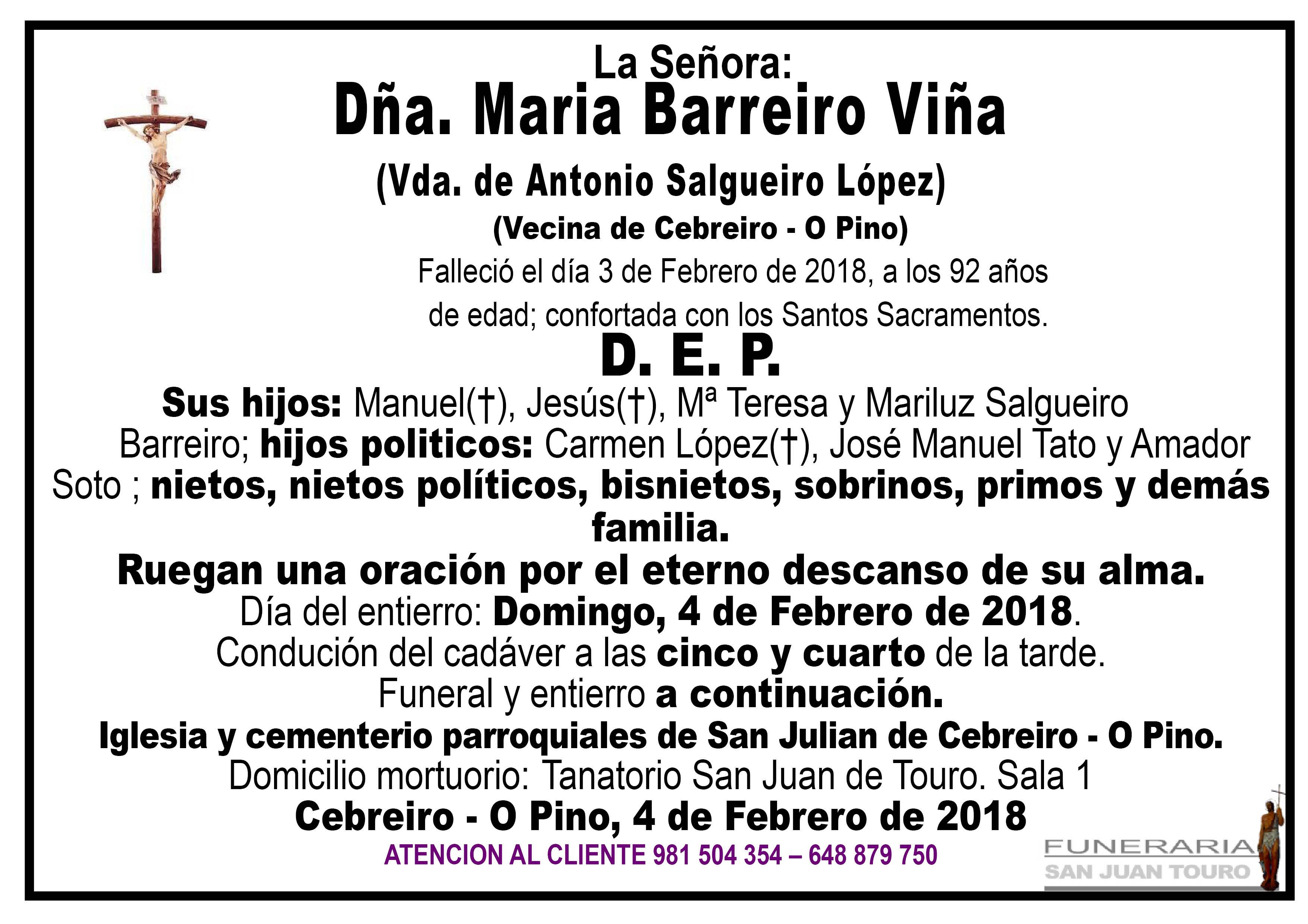 Esquela de SEPELIO DE DÑA. MARÍA BARREIRO VIÑA