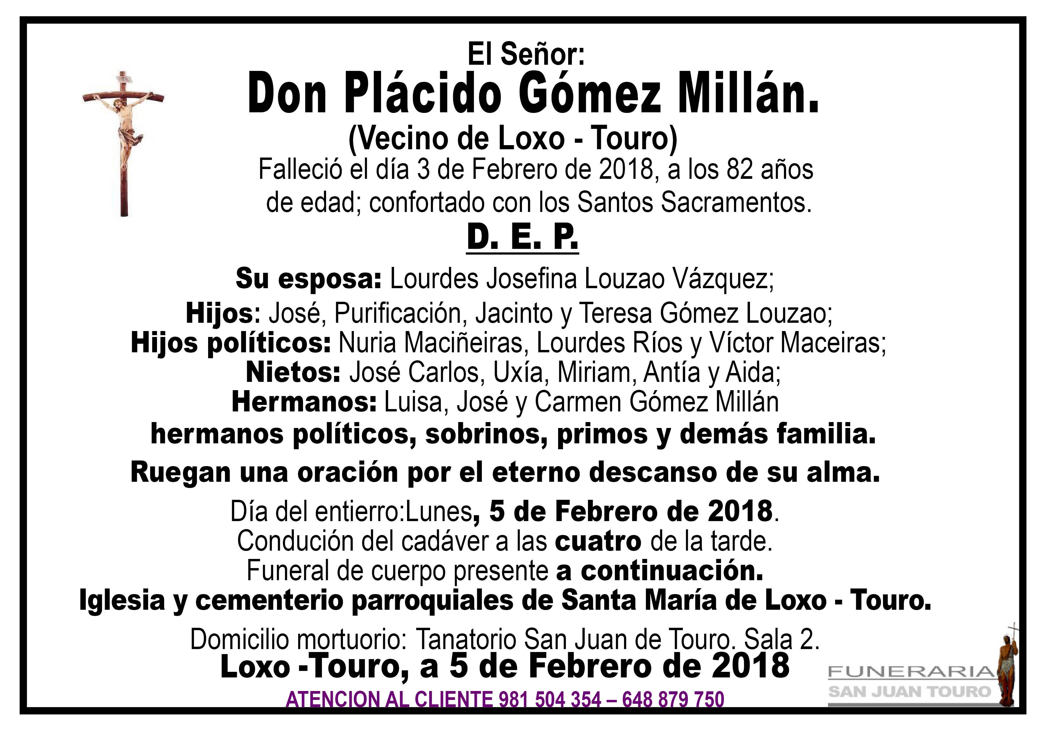 Esquela de SEPELIO DE D. PLÁCIDO GÓMEZ MILLÁN