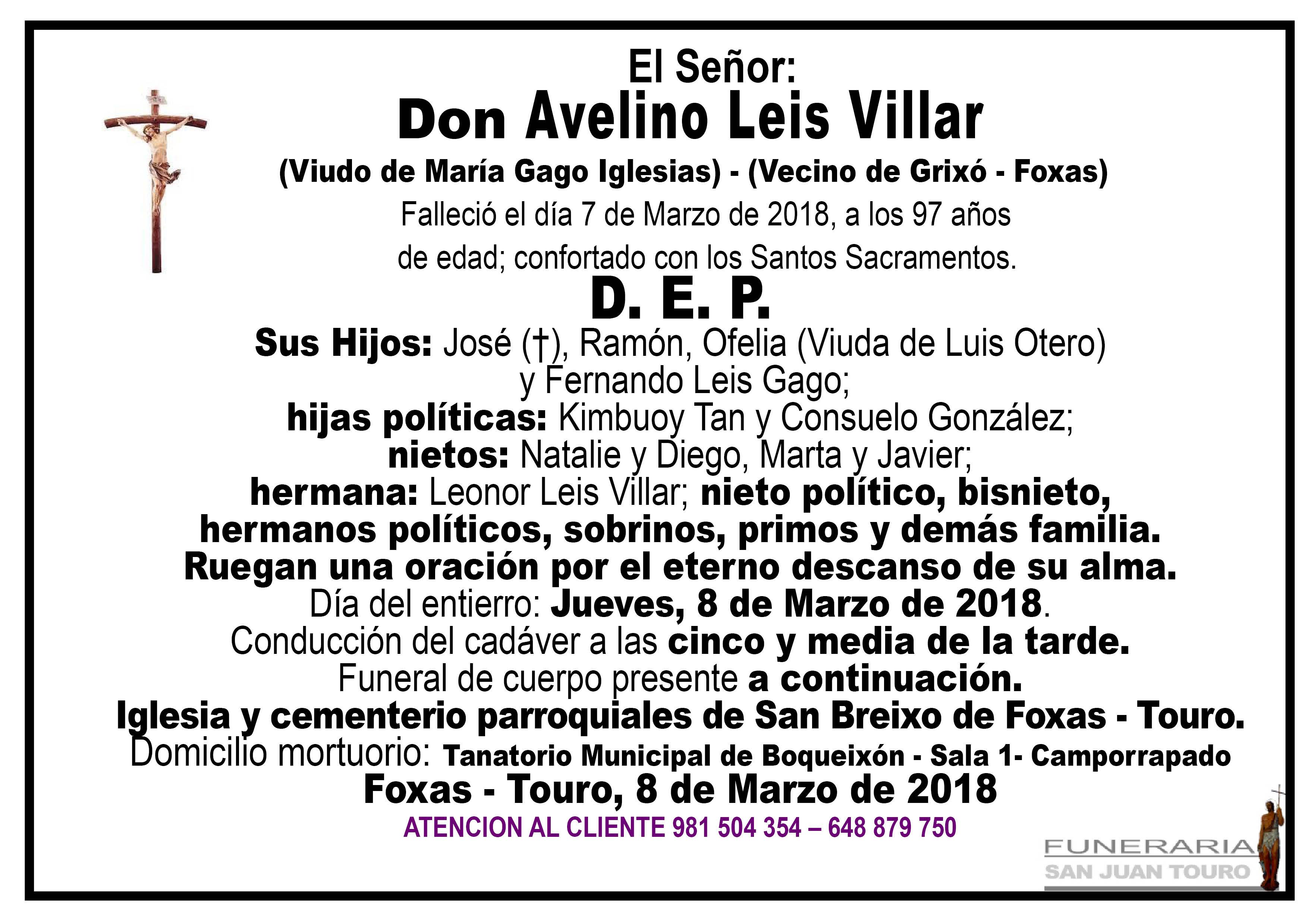 Esquela de SEPELIO DE DON AVELINO LEIS VILLAR