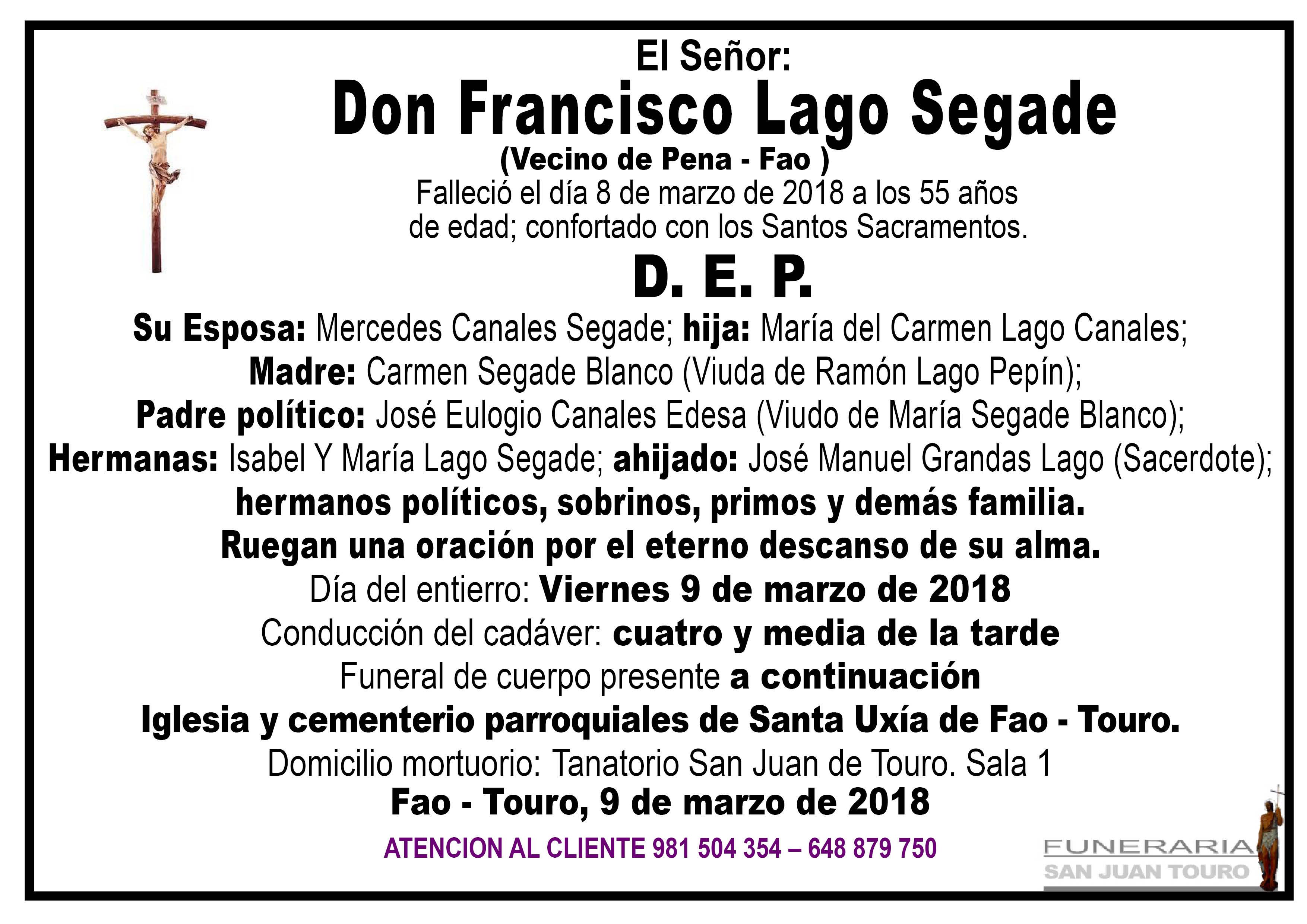 Esquela de SEPELIO DE DON FRANCISCO LAGO SEGADE
