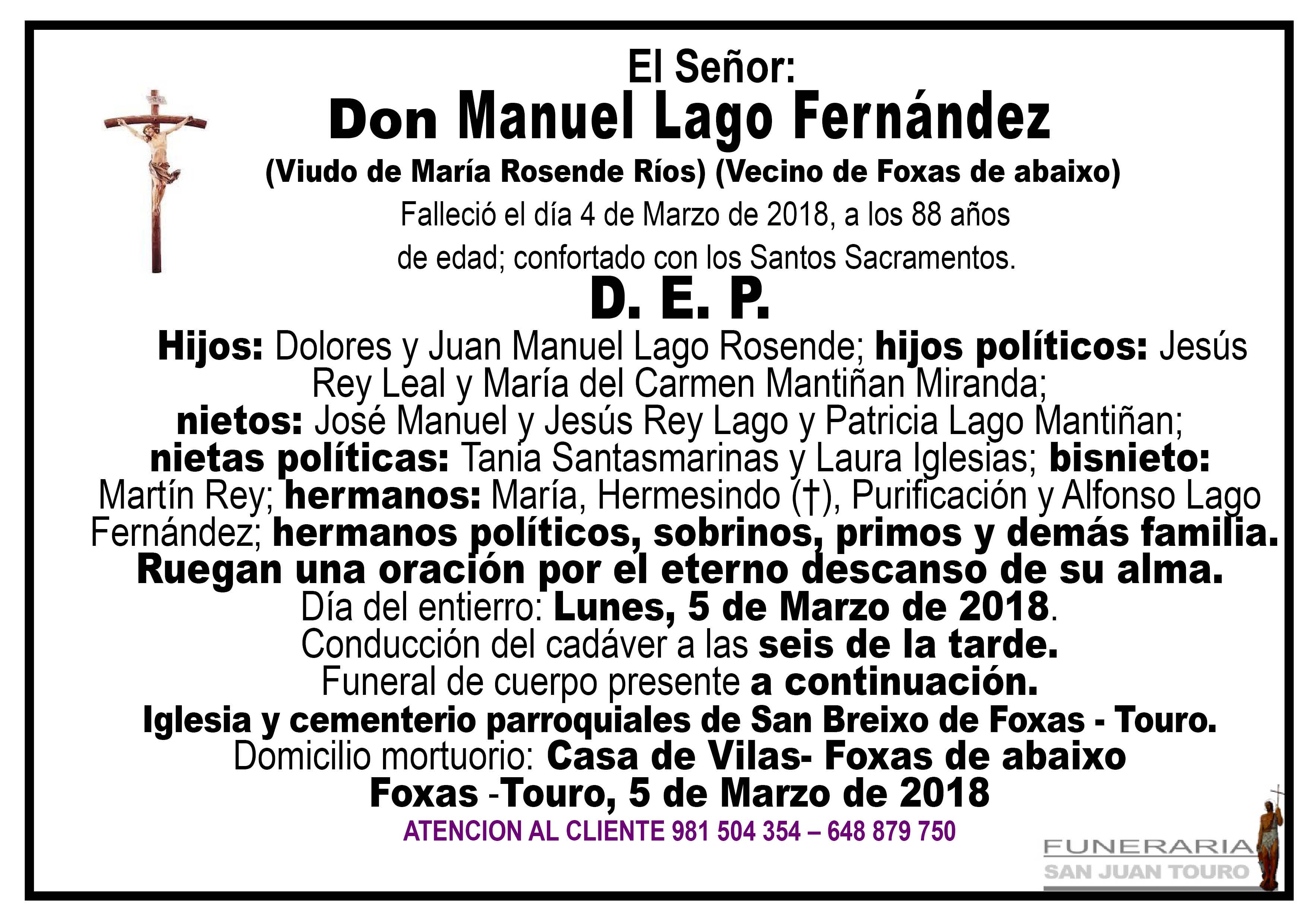 Esquela de SEPELIO DE DON MANUEL LAGO FERNÁNDEZ