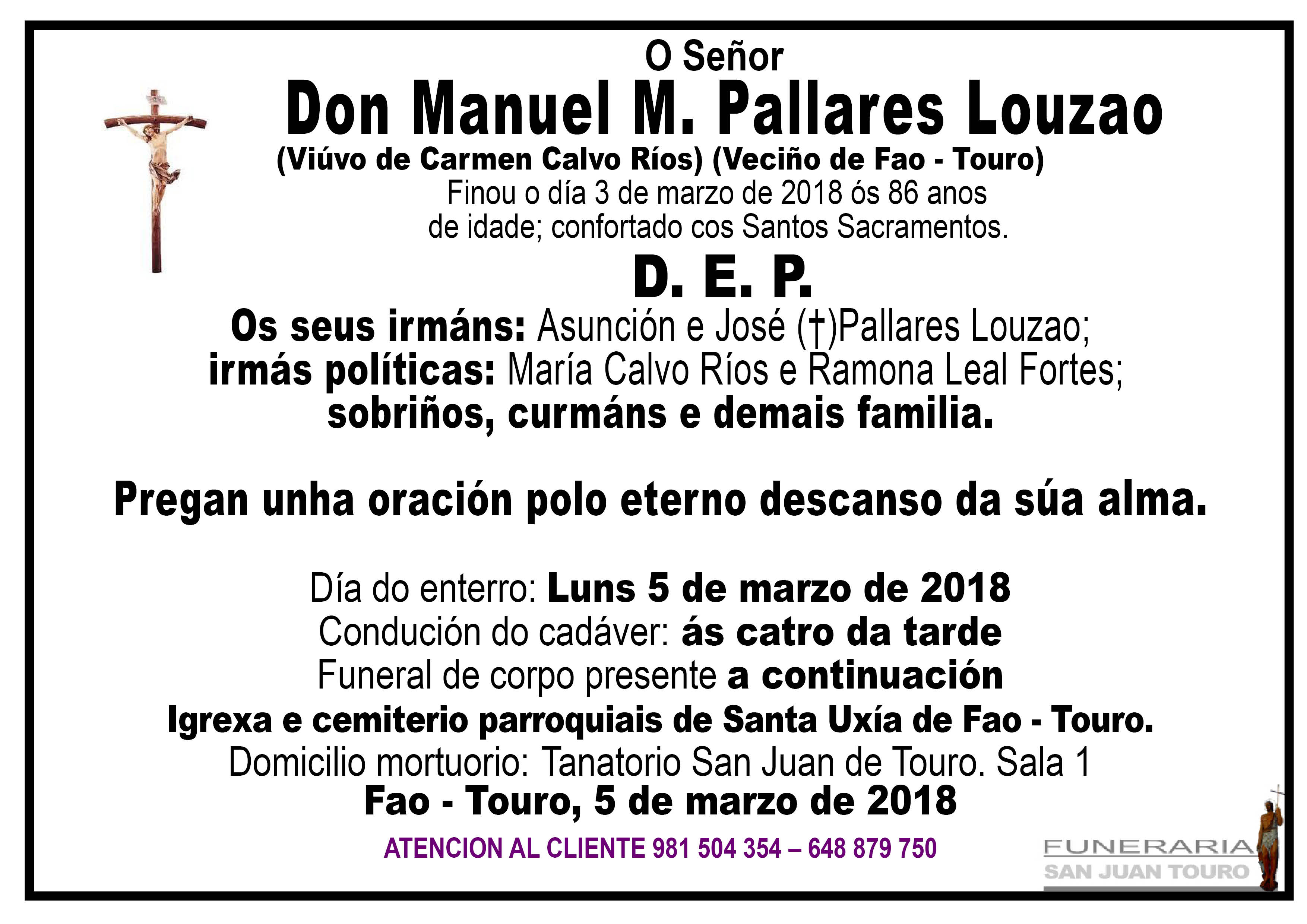 Esquela de SEPELIO DE DON MANUEL M. PALLARES LOUZAO