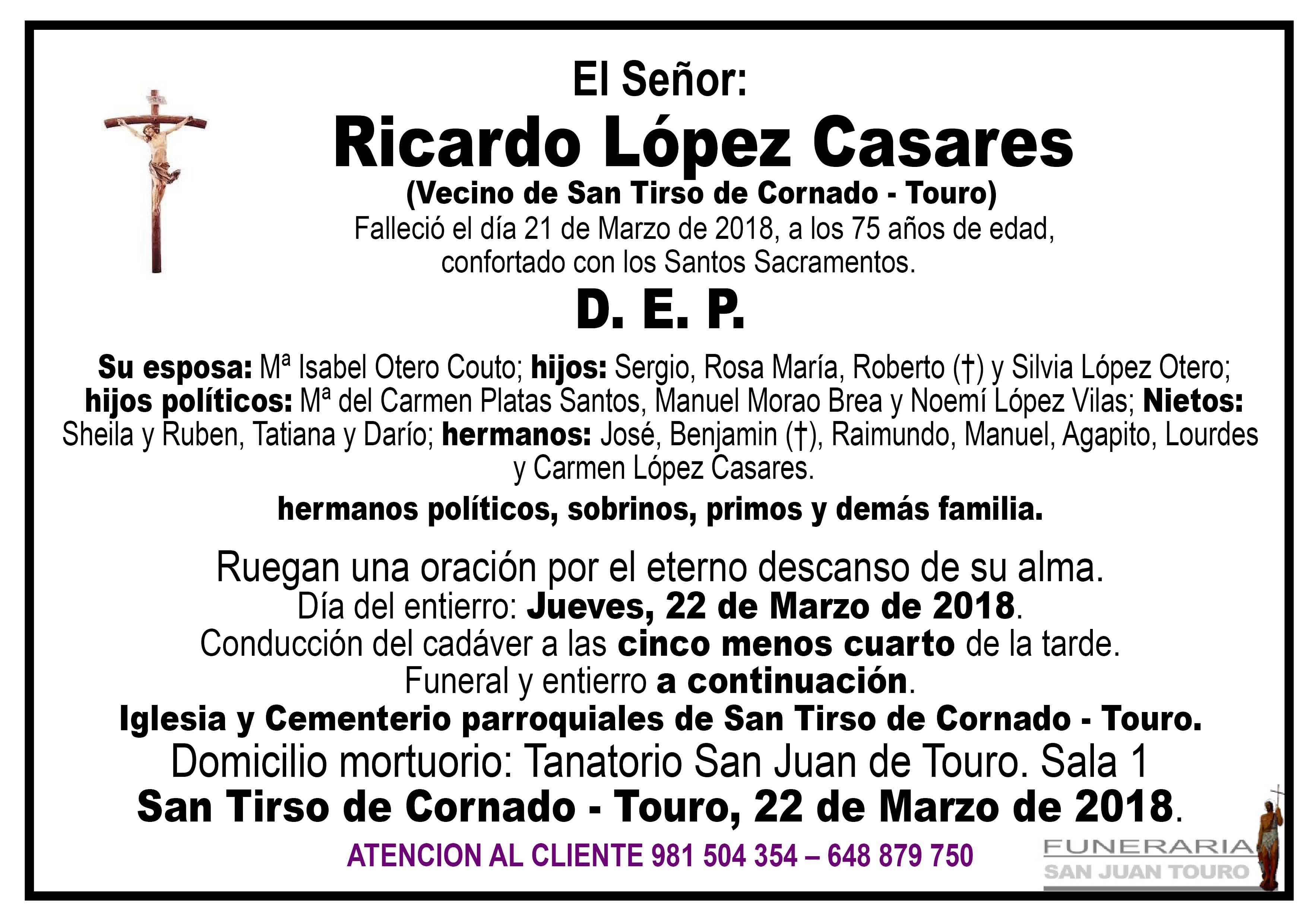 Esquela de SEPELIO DE DON RICARDO LÓPEZ CASARES