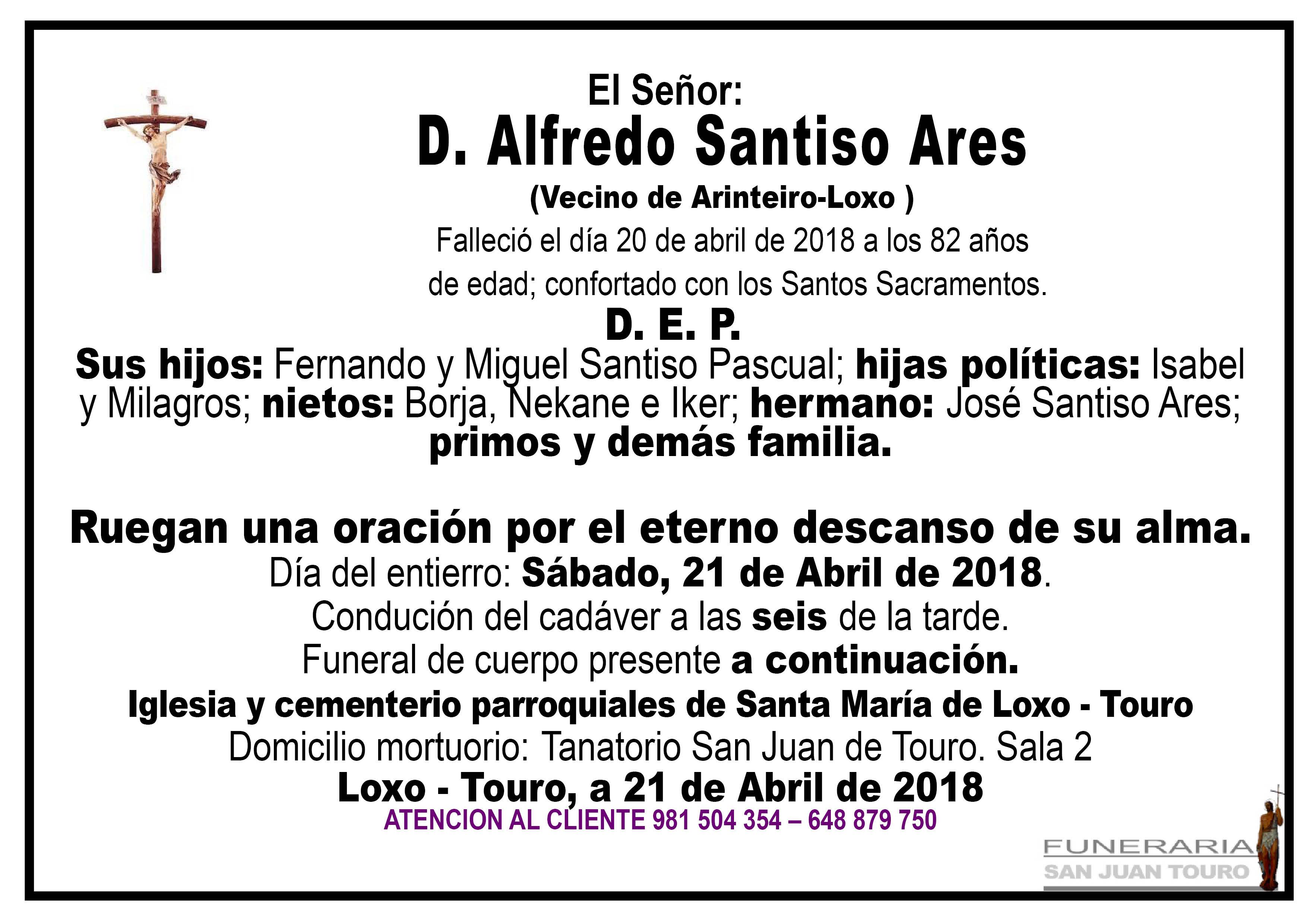 Esquela de SEPELIO DE DON ALFREDO SANTISO ARES.