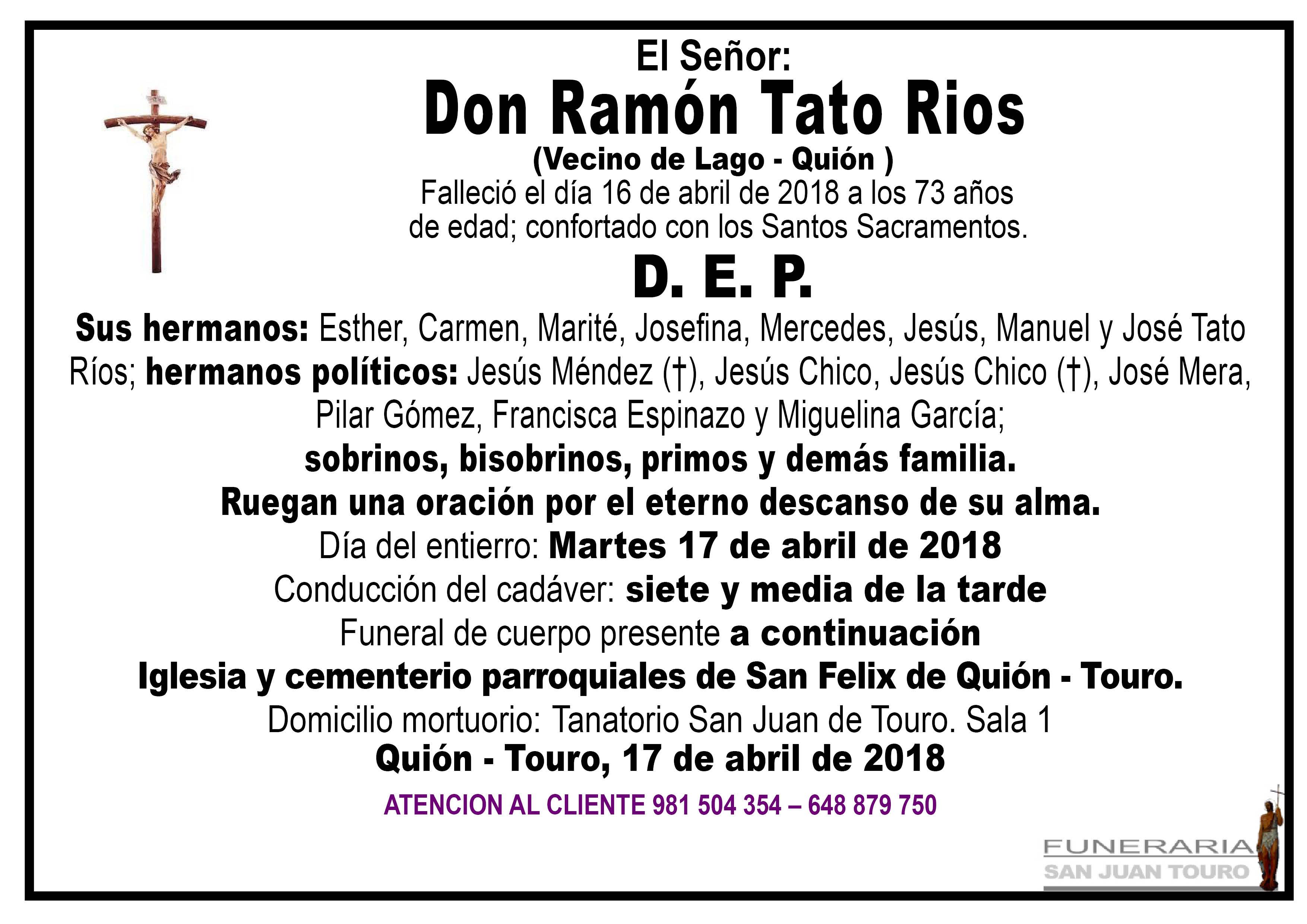 Esquela de SEPELIO DE DON RAMÓN TATO RÍOS