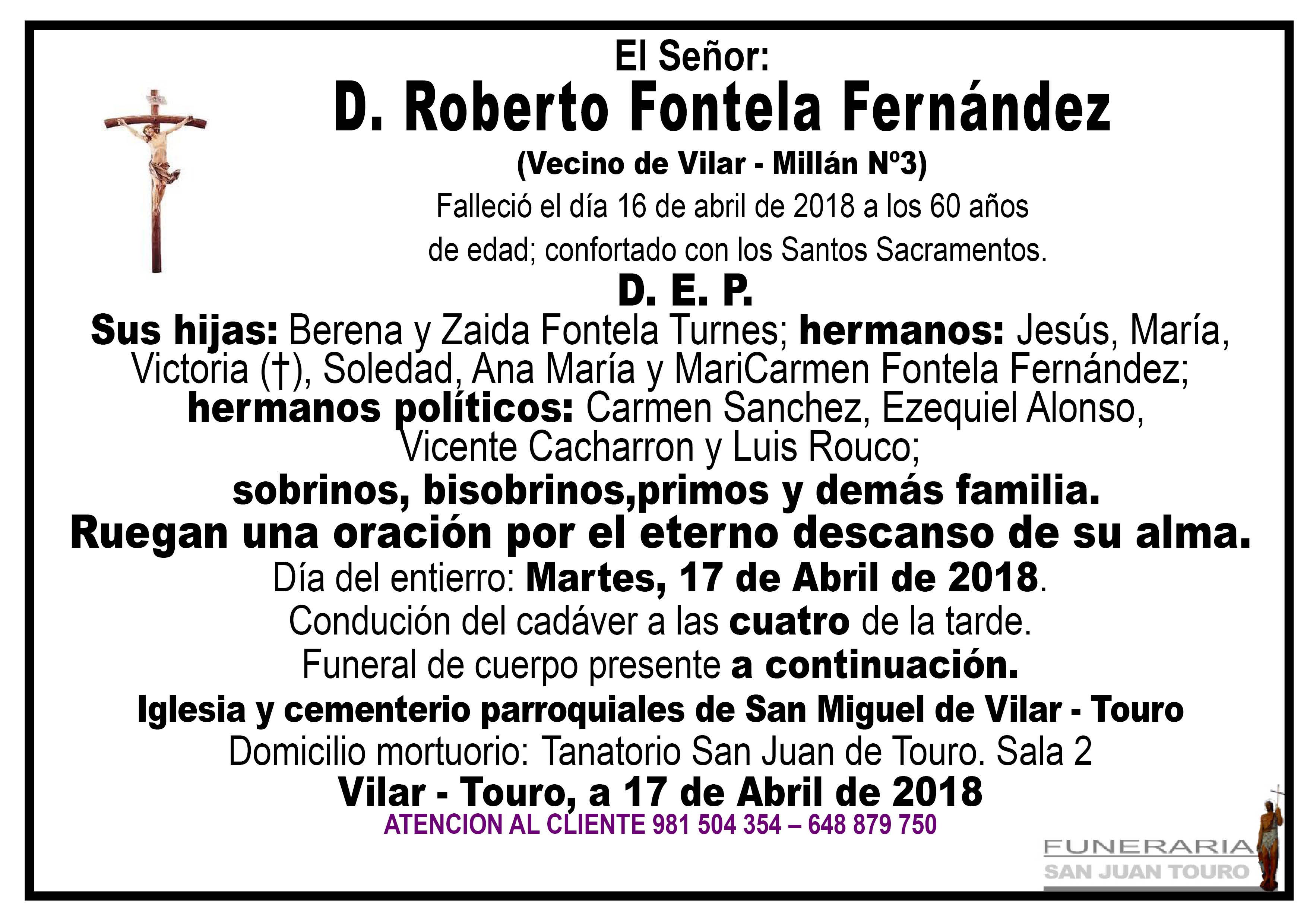 Esquela de SEPELIO DE DON ROBERTO FONTELA FERNÁNDEZ