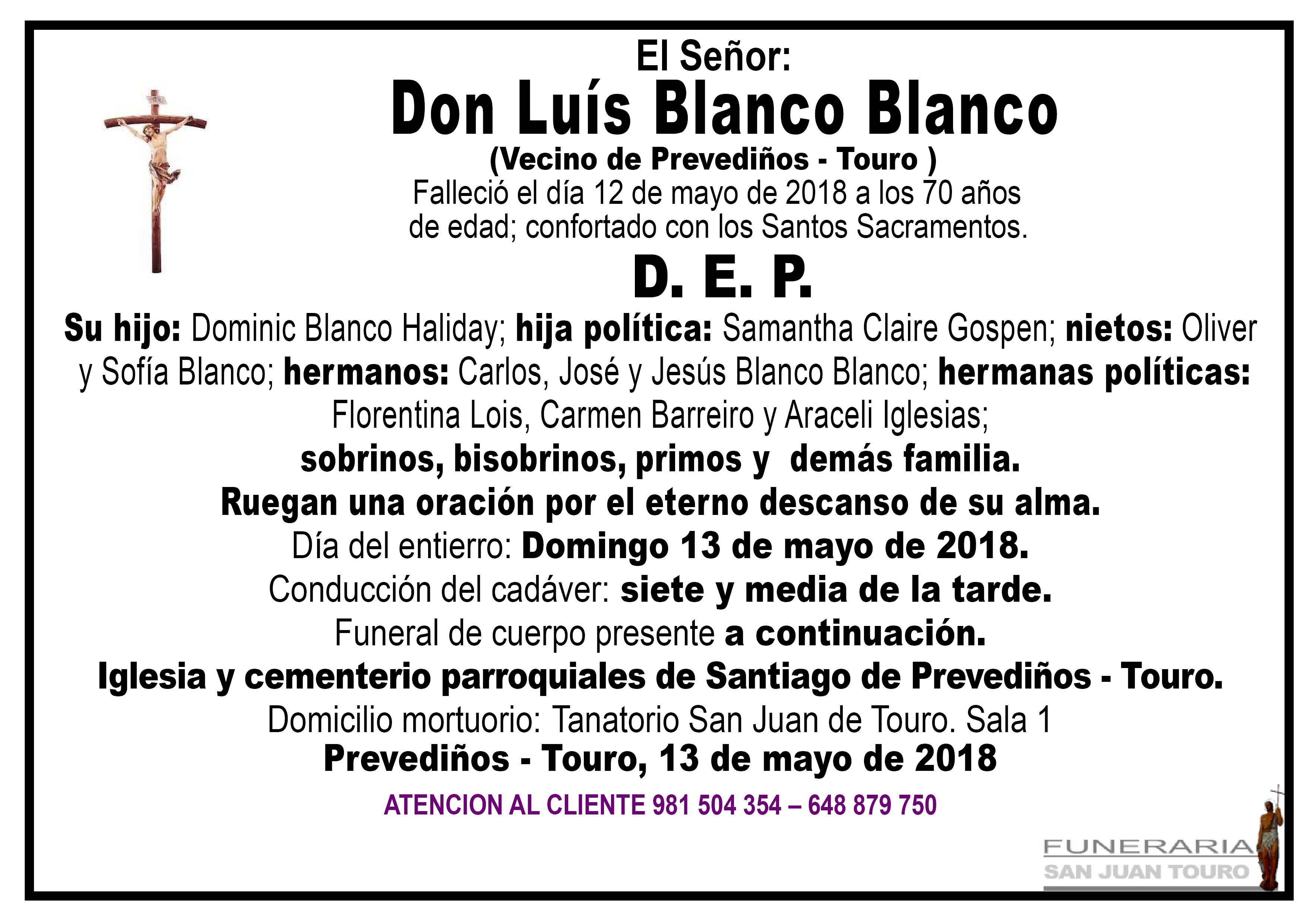 Esquela de SEPELIO DE DON LUIS BLANCO BLANCO