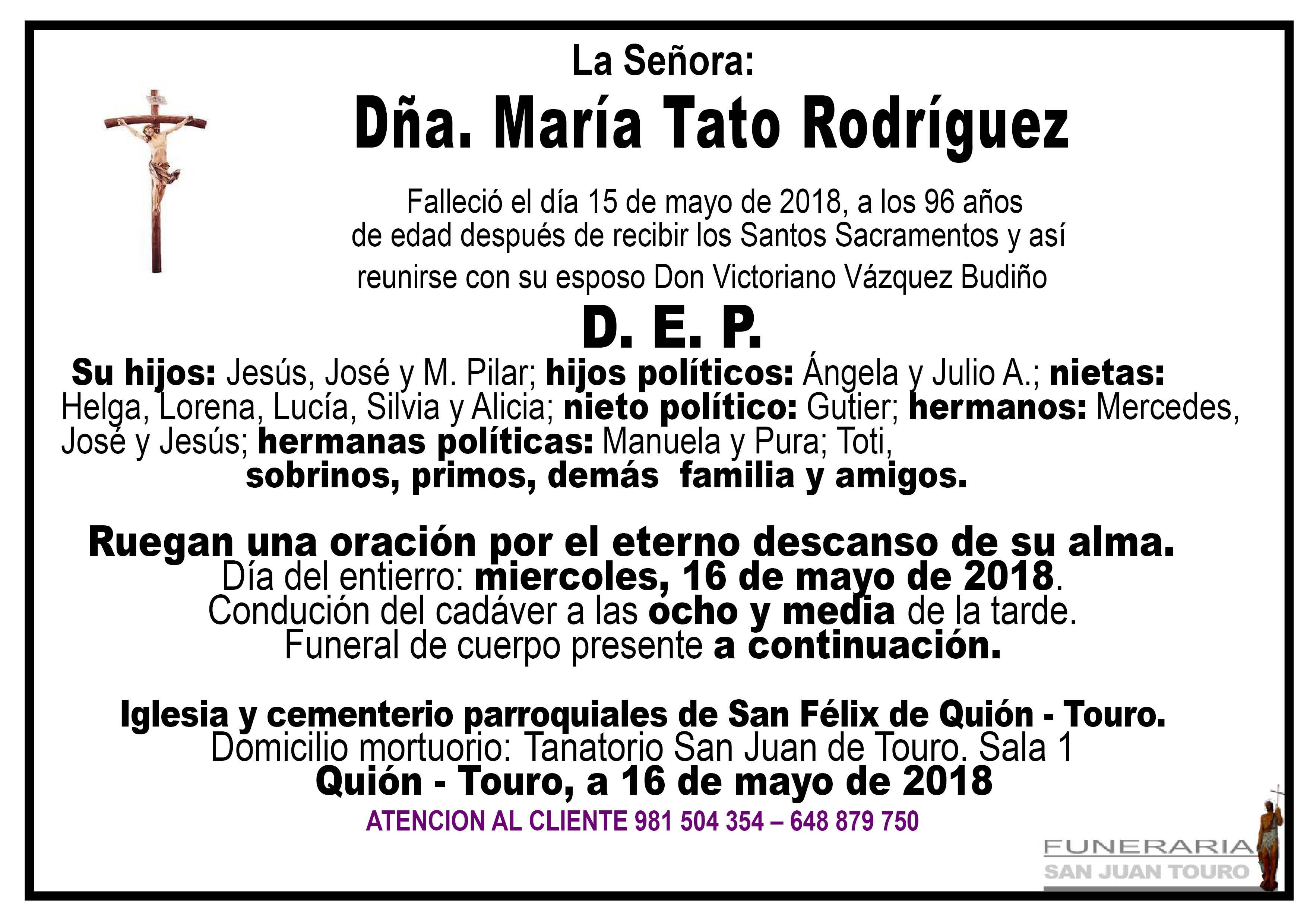 Esquela de SEPELIO DE DOÑA MARÍA TATO RODRÍGUEZ