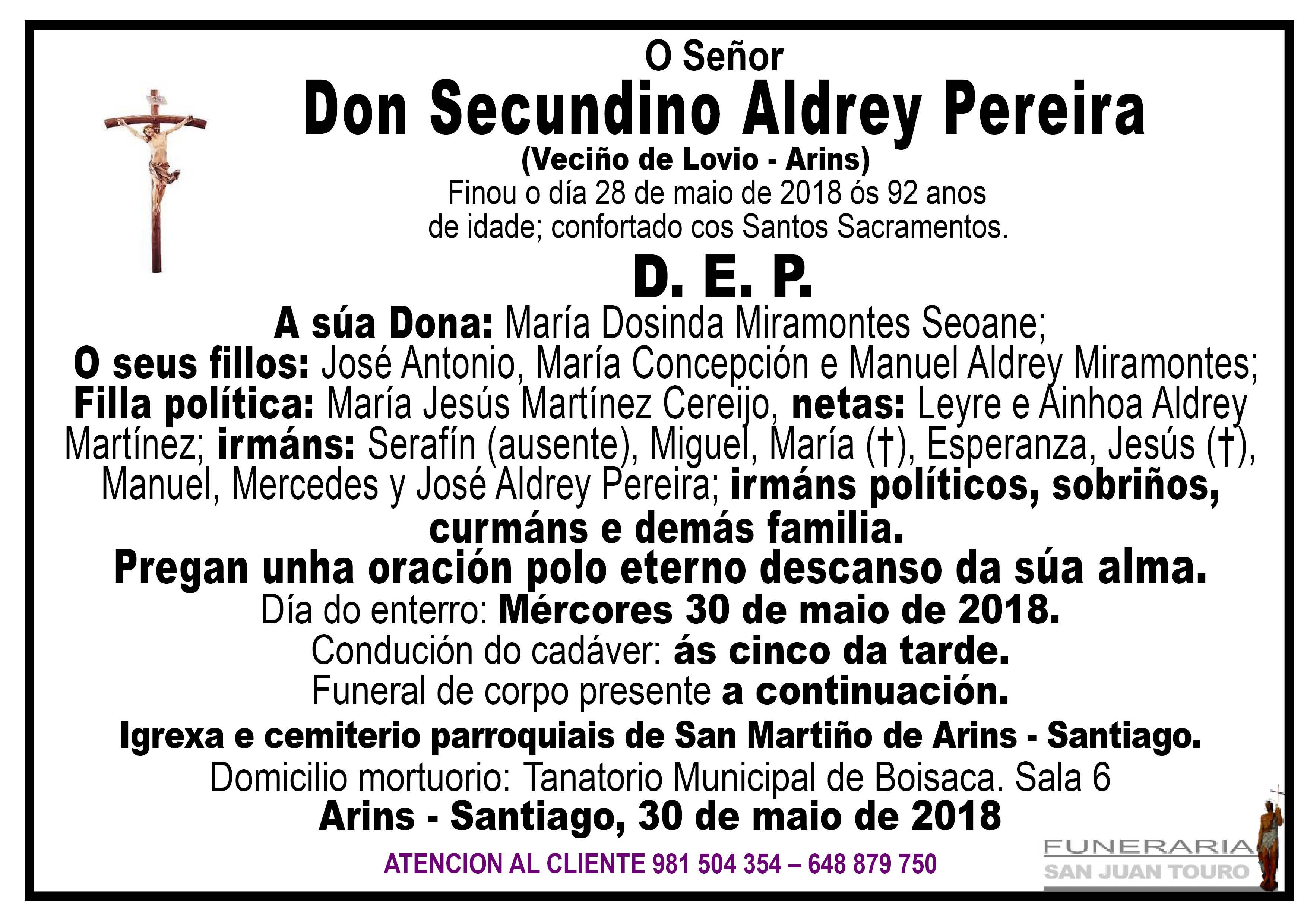 Esquela de SEPELIO DE DON SECUNDINO ALDREY PEREIRA