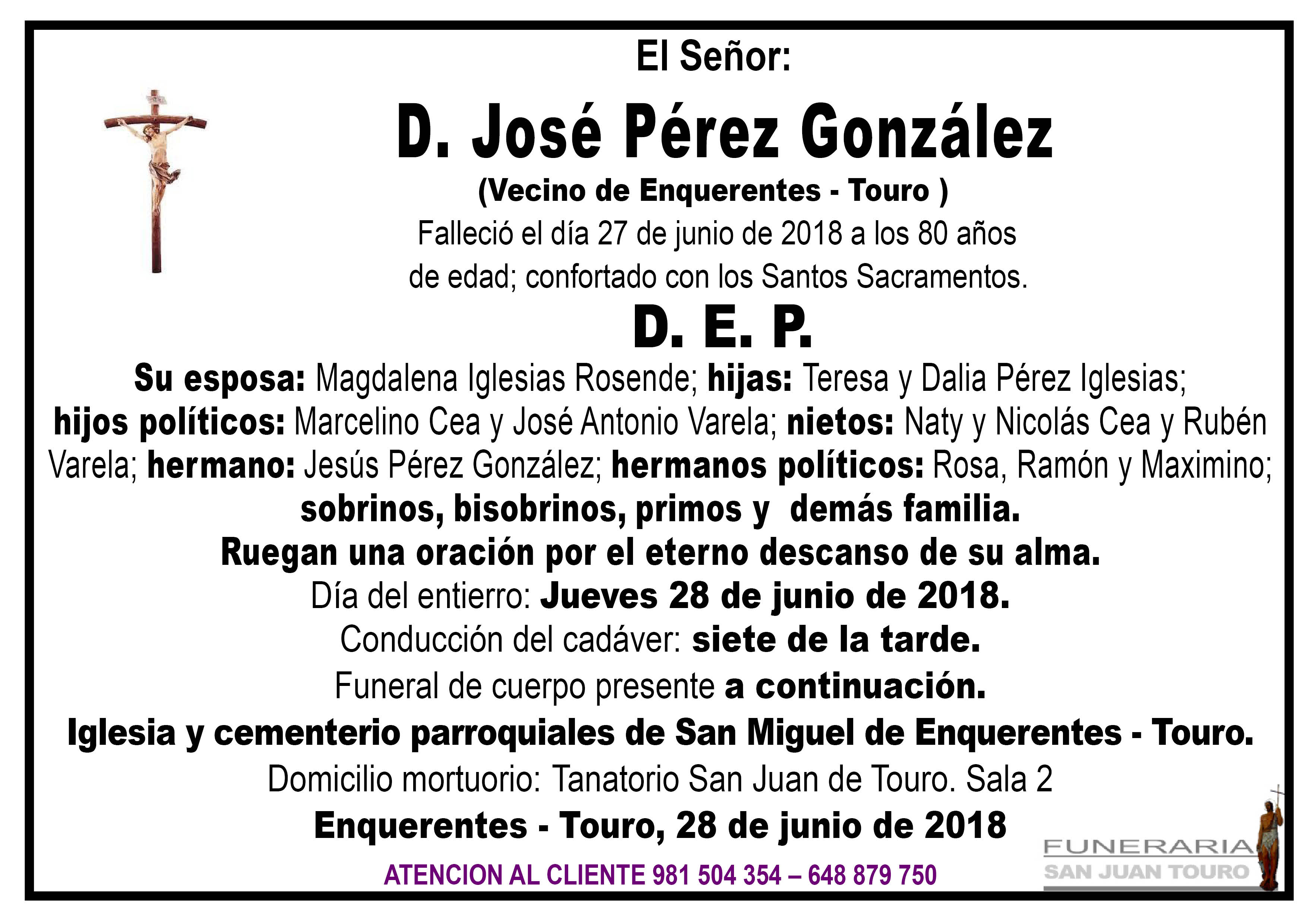 Esquela de SEPELIO DE DON JOSE PEREZ GONZALEZ