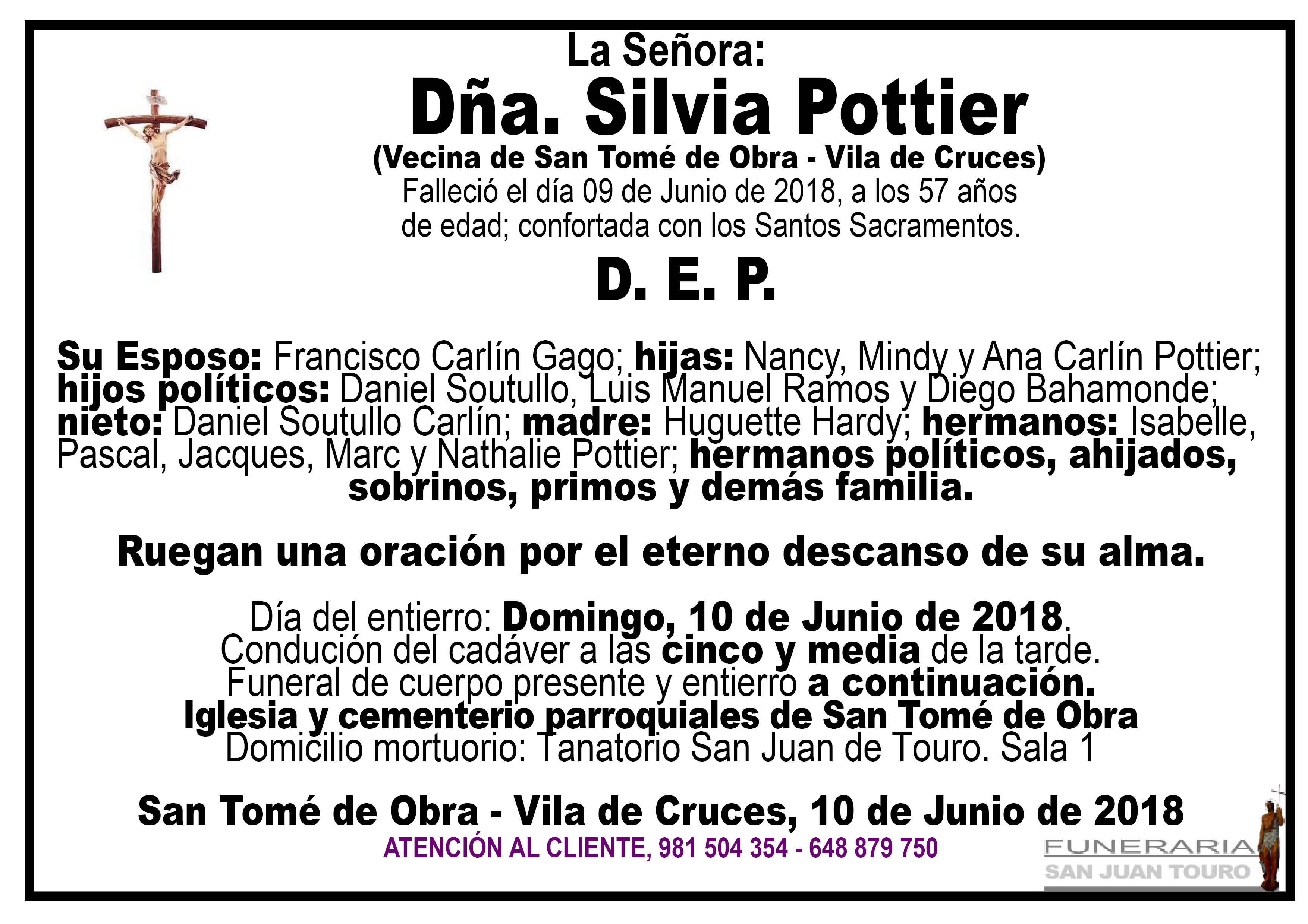 Esquela de SEPELIO DE DOÑA SILVIA POTTIER