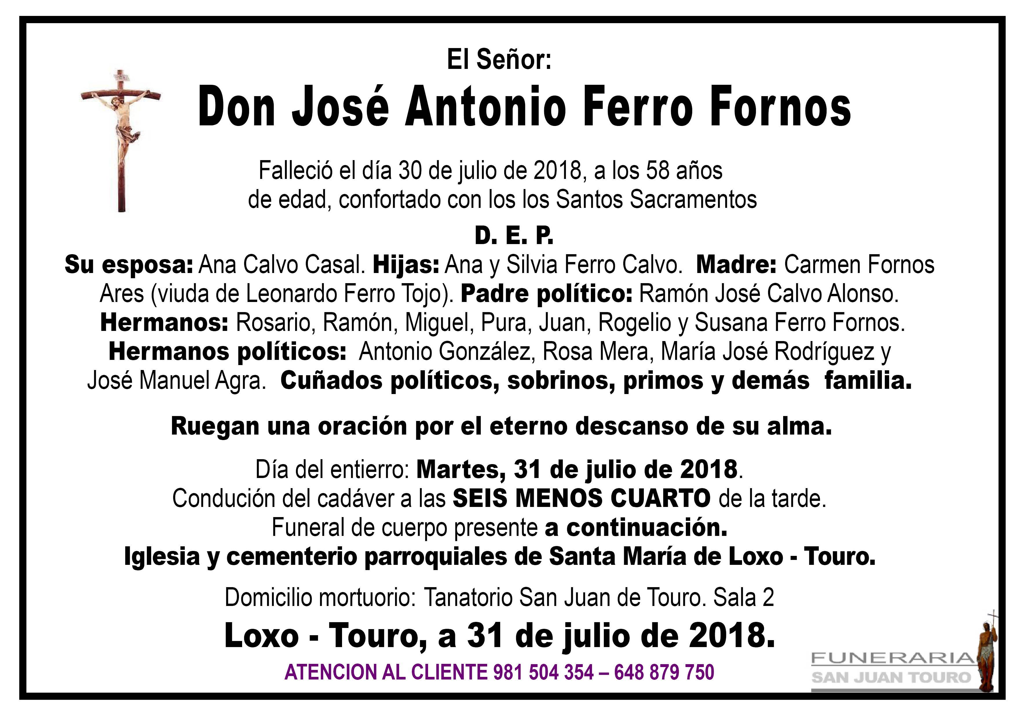 Esquela de SEPELIO DE DON JOSÉ ANTONIO FERRO FORNOS