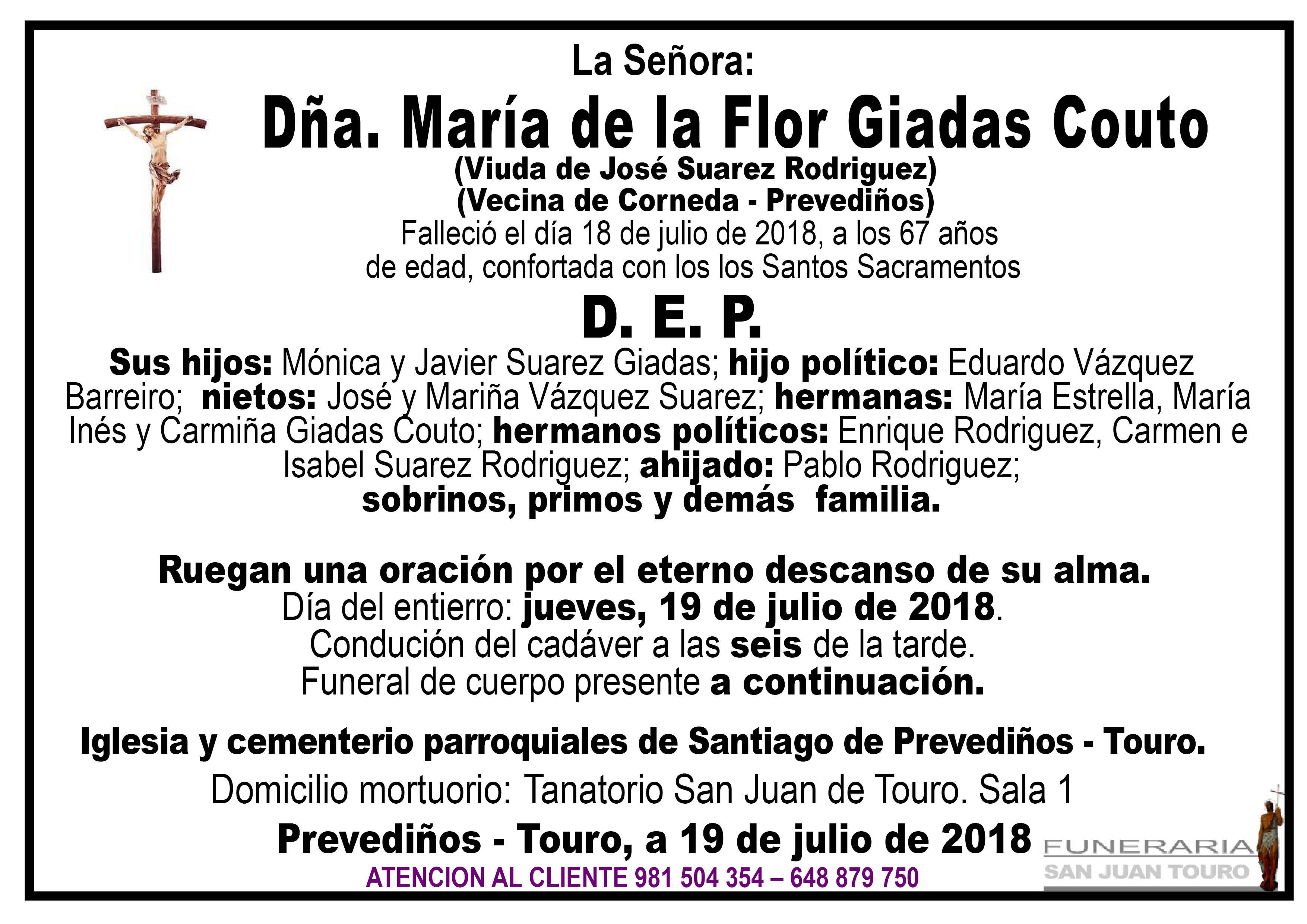 Esquela de SEPELIO DE DOÑA MARÍA DE LA FLOR GIADAS COUTO
