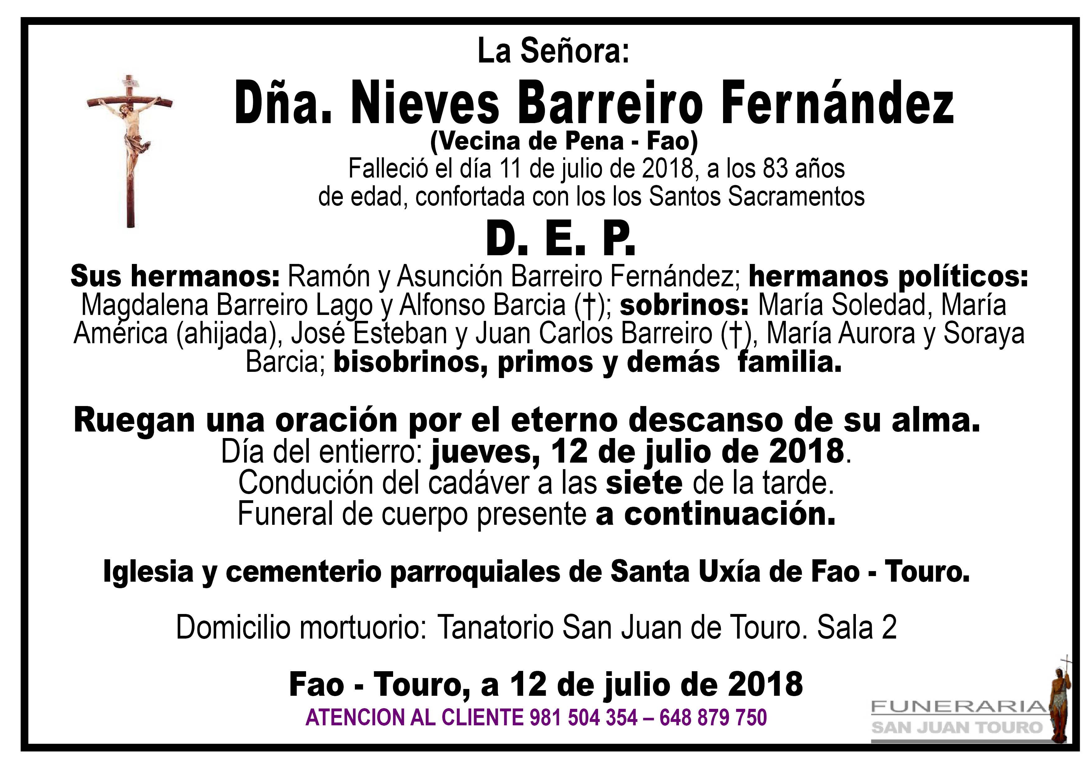 Esquela de SEPELIO DE DOÑA NIEVES BARREIRO FERNÁNDEZ