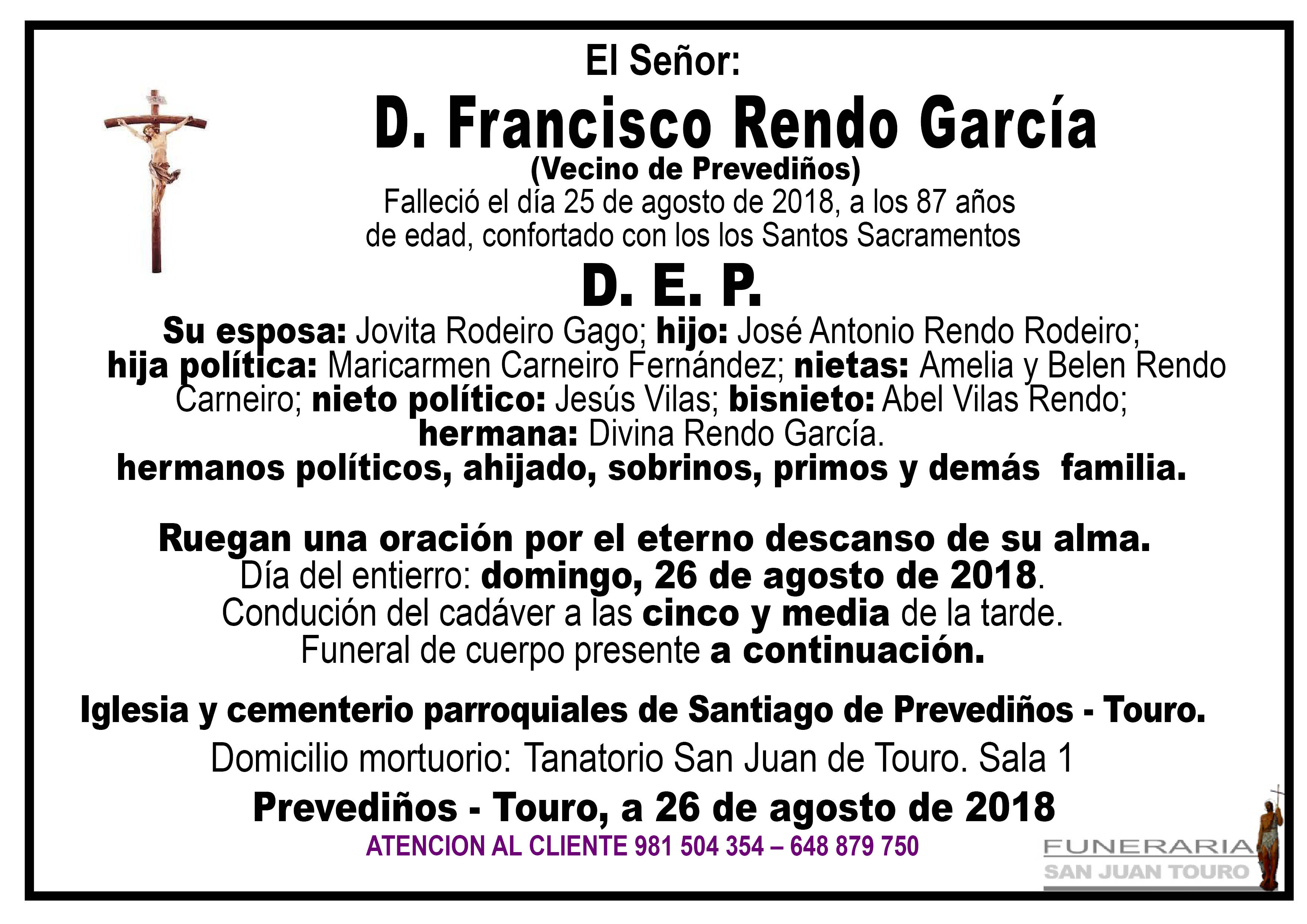 Esquela de SEPELIO DE DON FRANCISCO RENDO GARCÍA