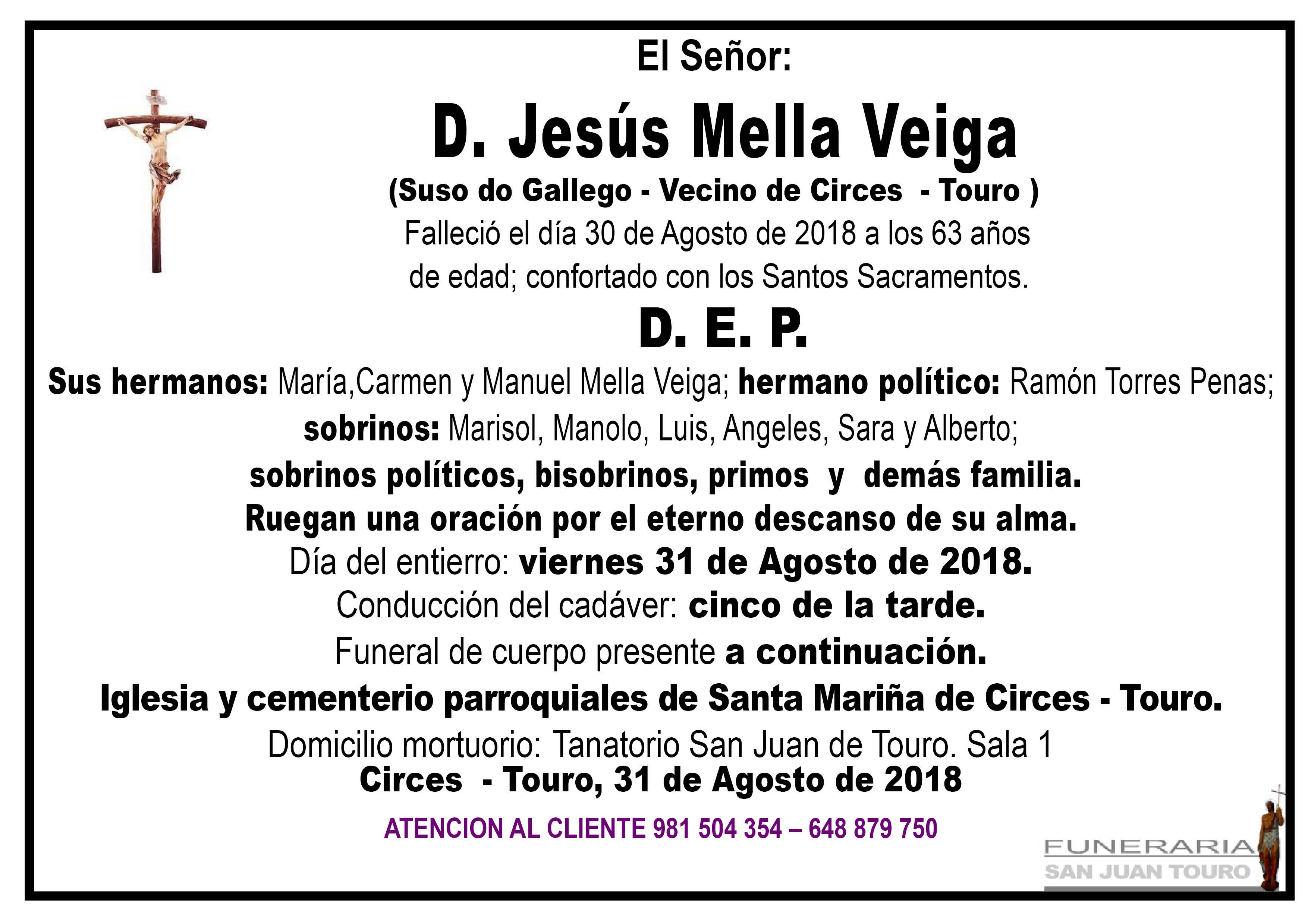 Esquela de SEPELIO DE DON JESÚS MELLA VEIGA