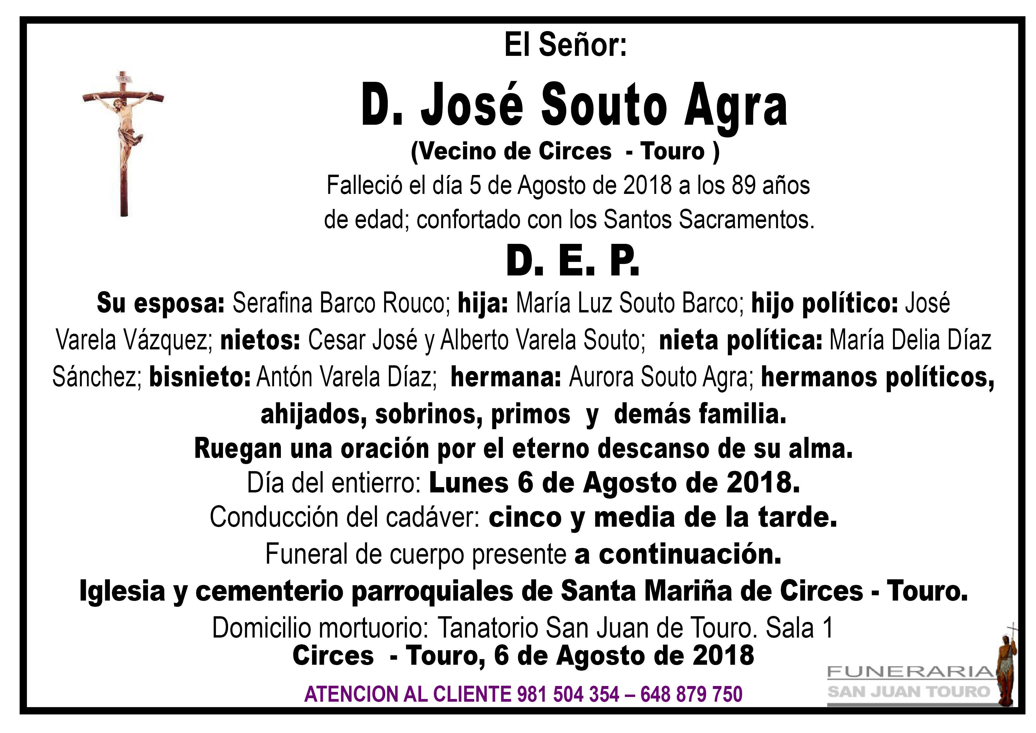 Esquela de SEPELIO DE DON JOSÉ SOUTO AGRA