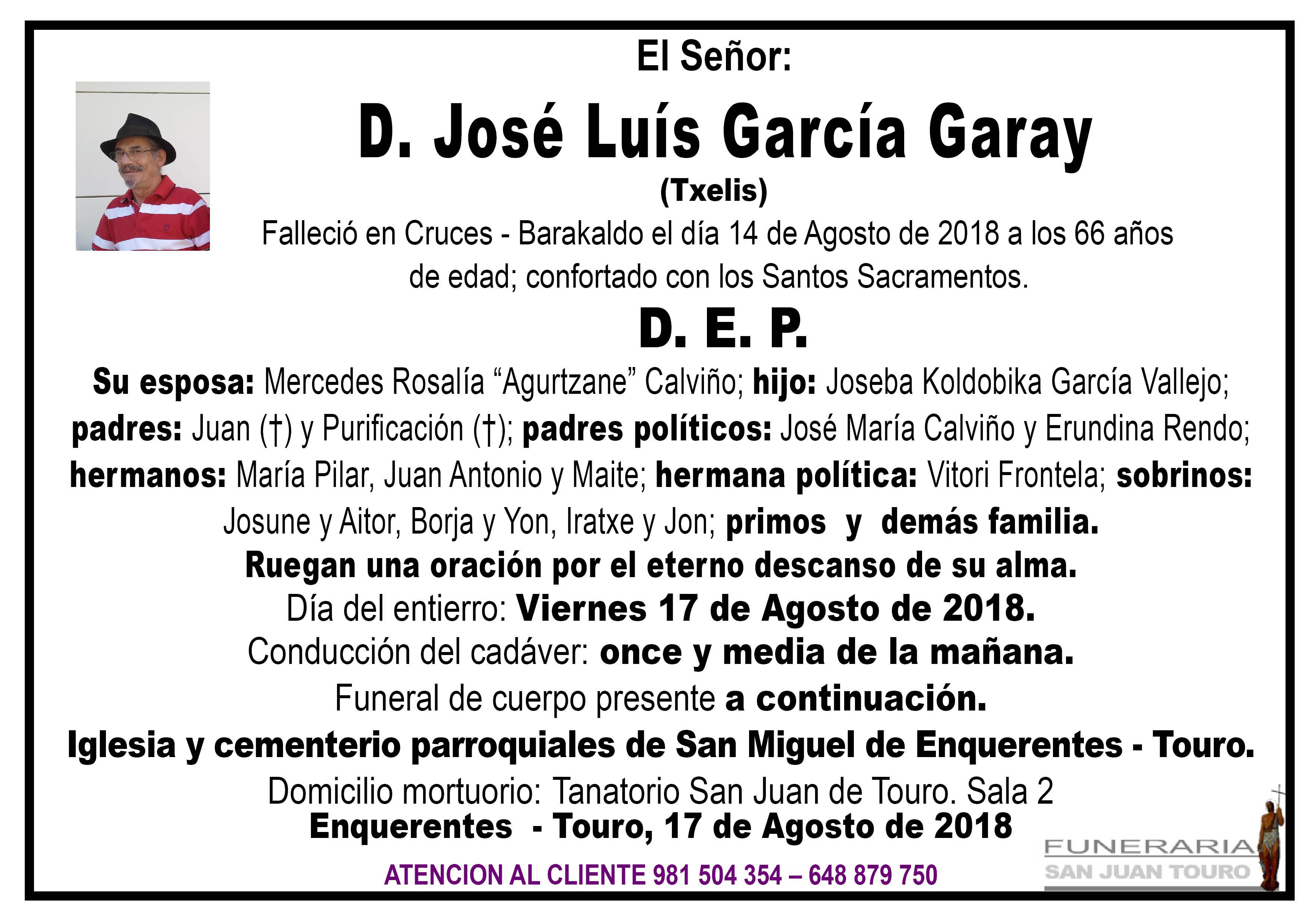 Esquela de SEPELIO DE DON JOSÉ LUIS GARCÍA GARAY