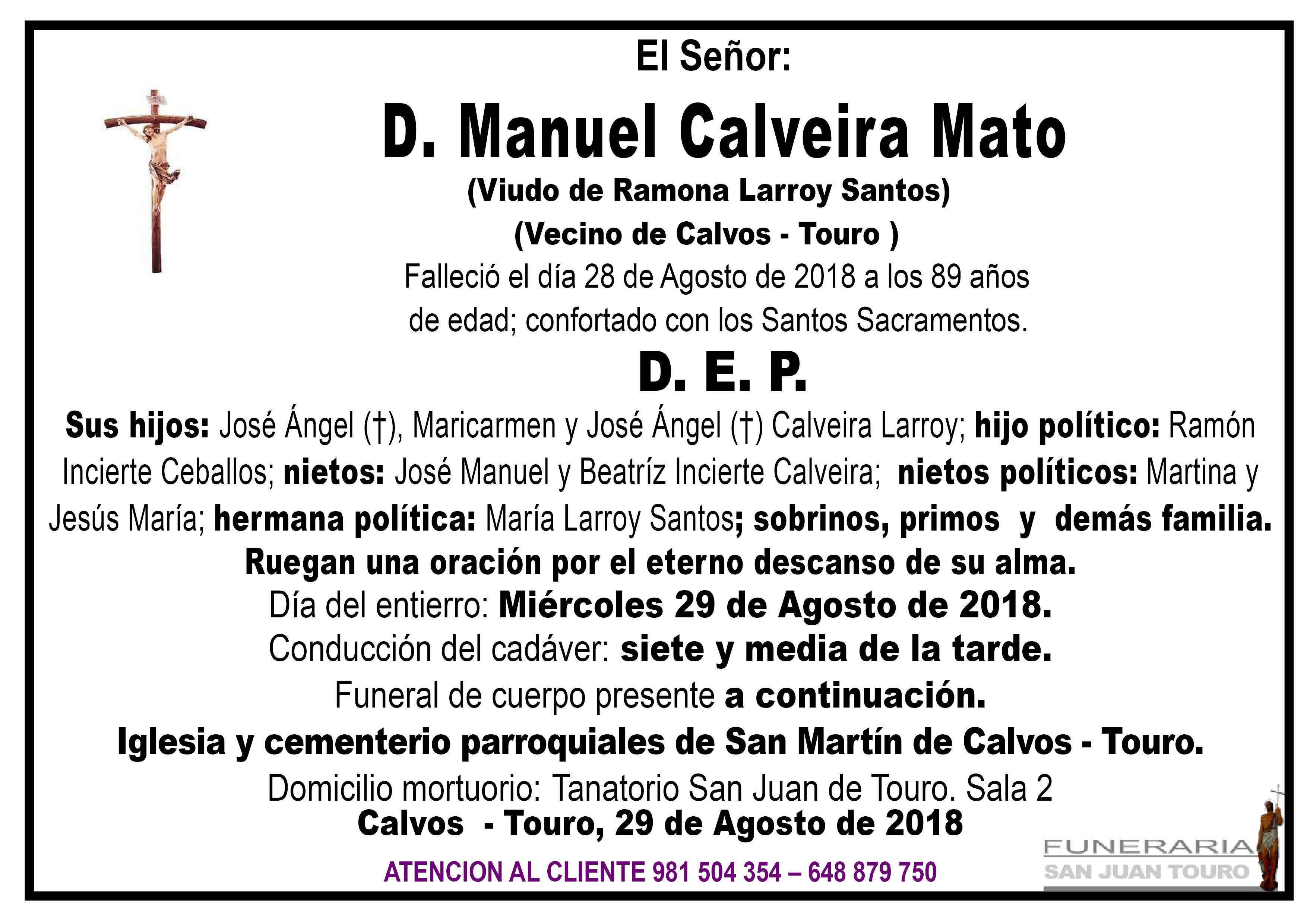 Esquela de SEPELIO DE DON MANUEL CALVEIRA MATO