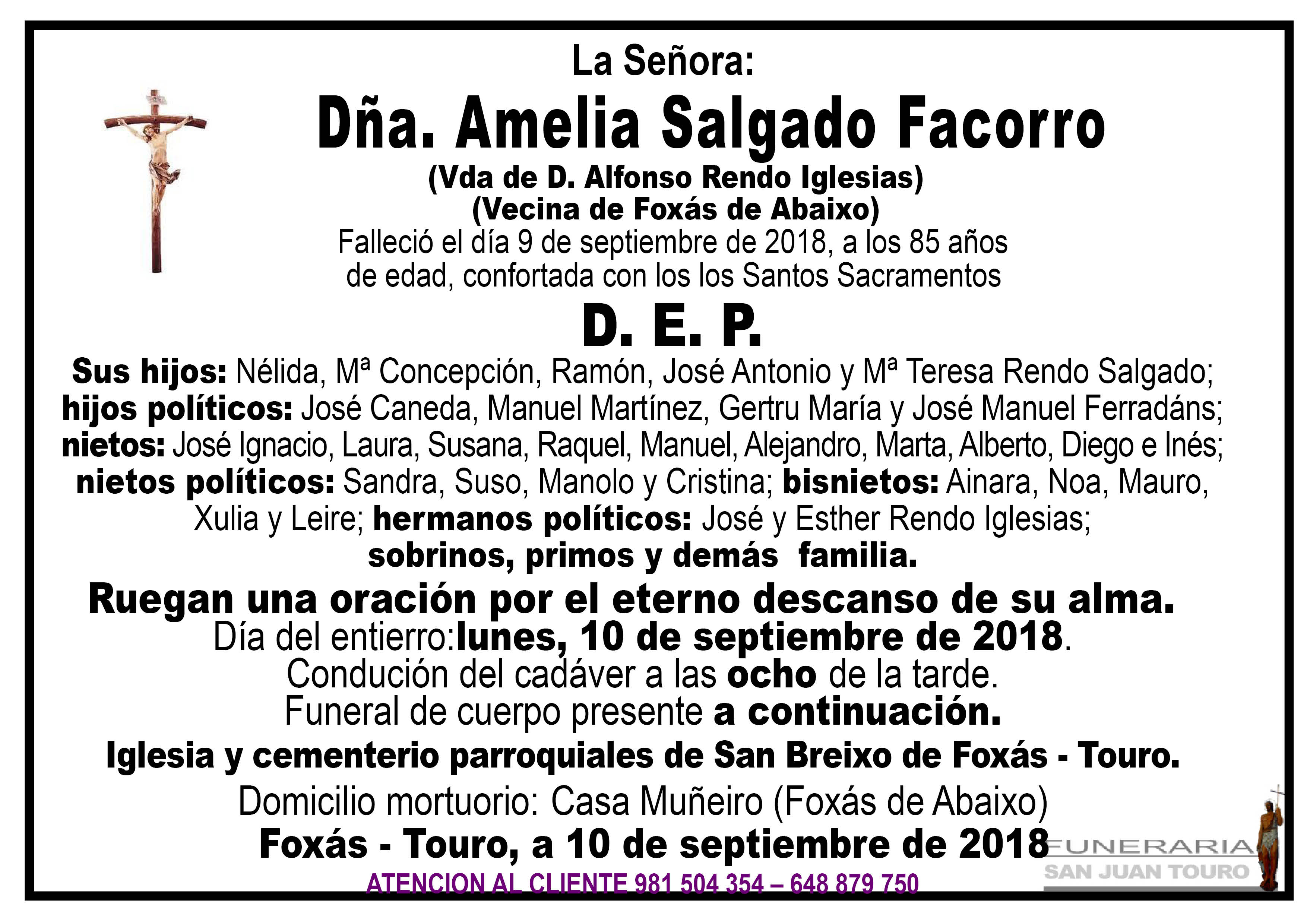 Esquela de SEPELIO DE DOÑA AMELIA SALGADO FACORRO
