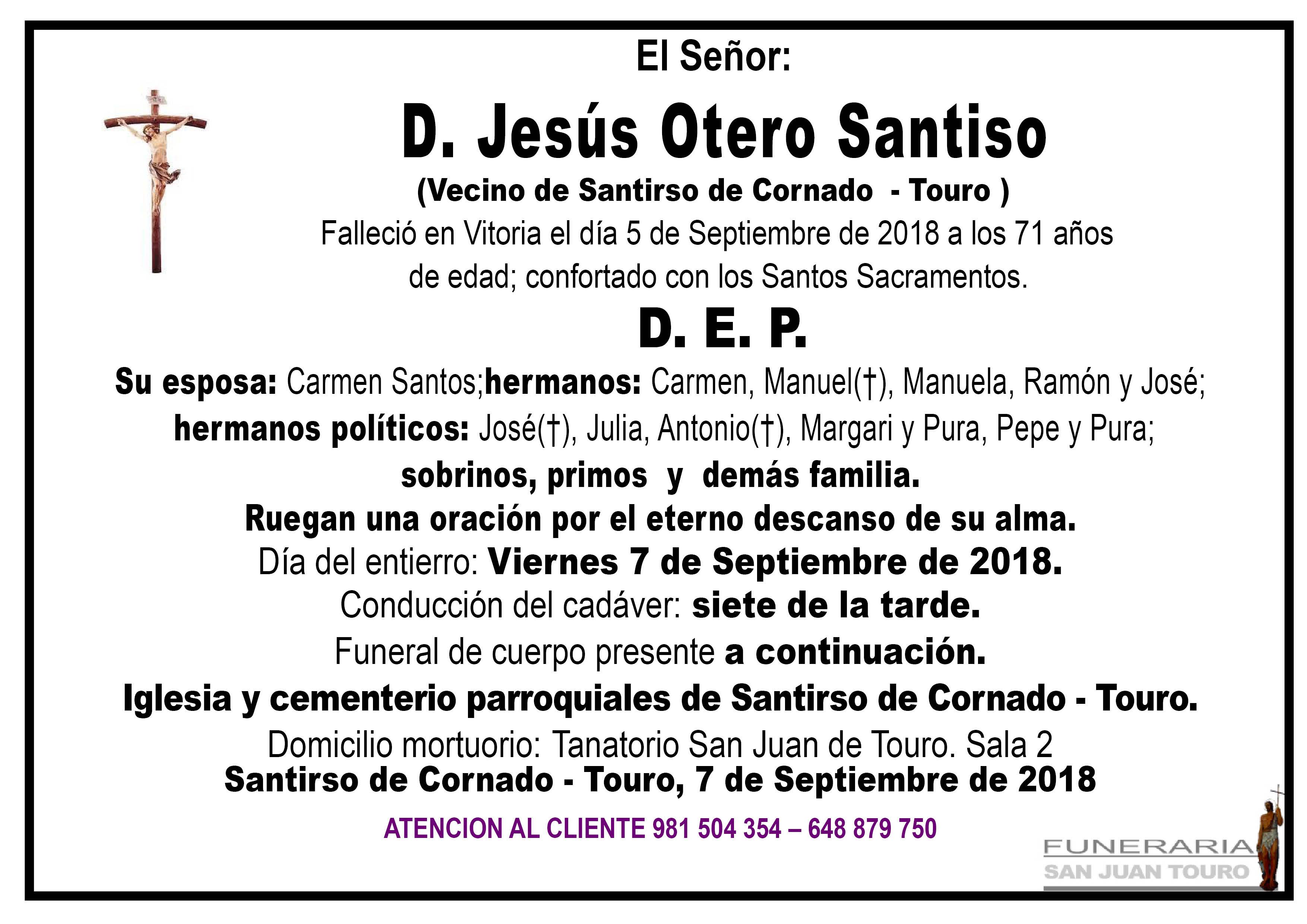 Esquela de SEPELIO DE DON JESÚS OTERO SANTISO