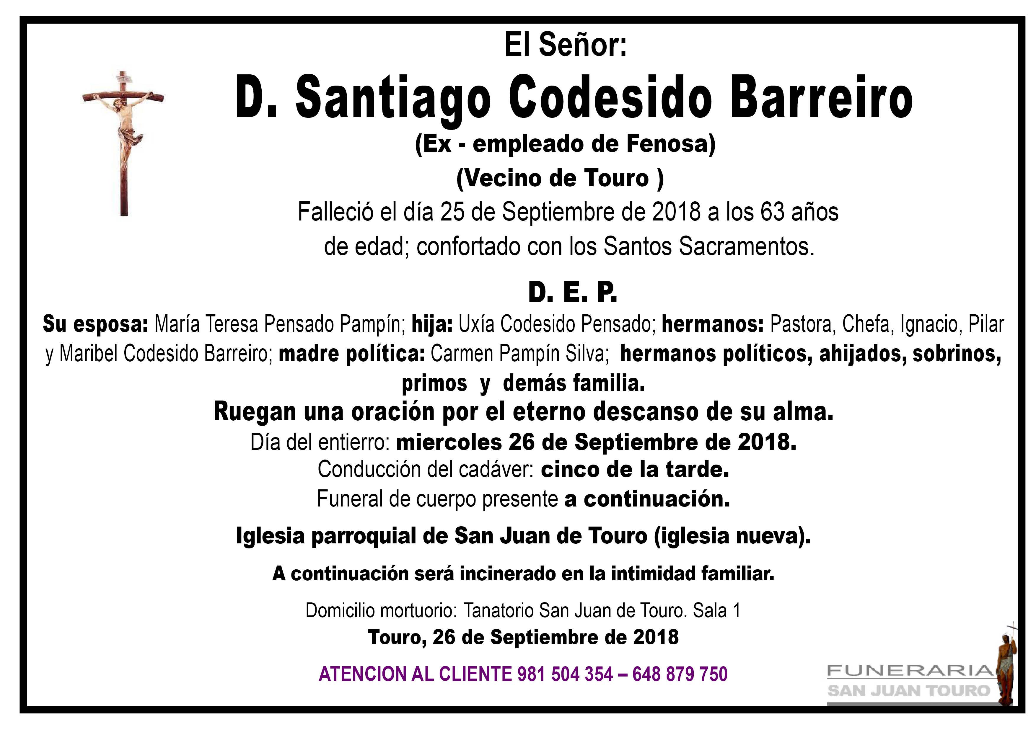 Esquela de SEPELIO DE DON SANTIAGO CODESIDO BARREIRO