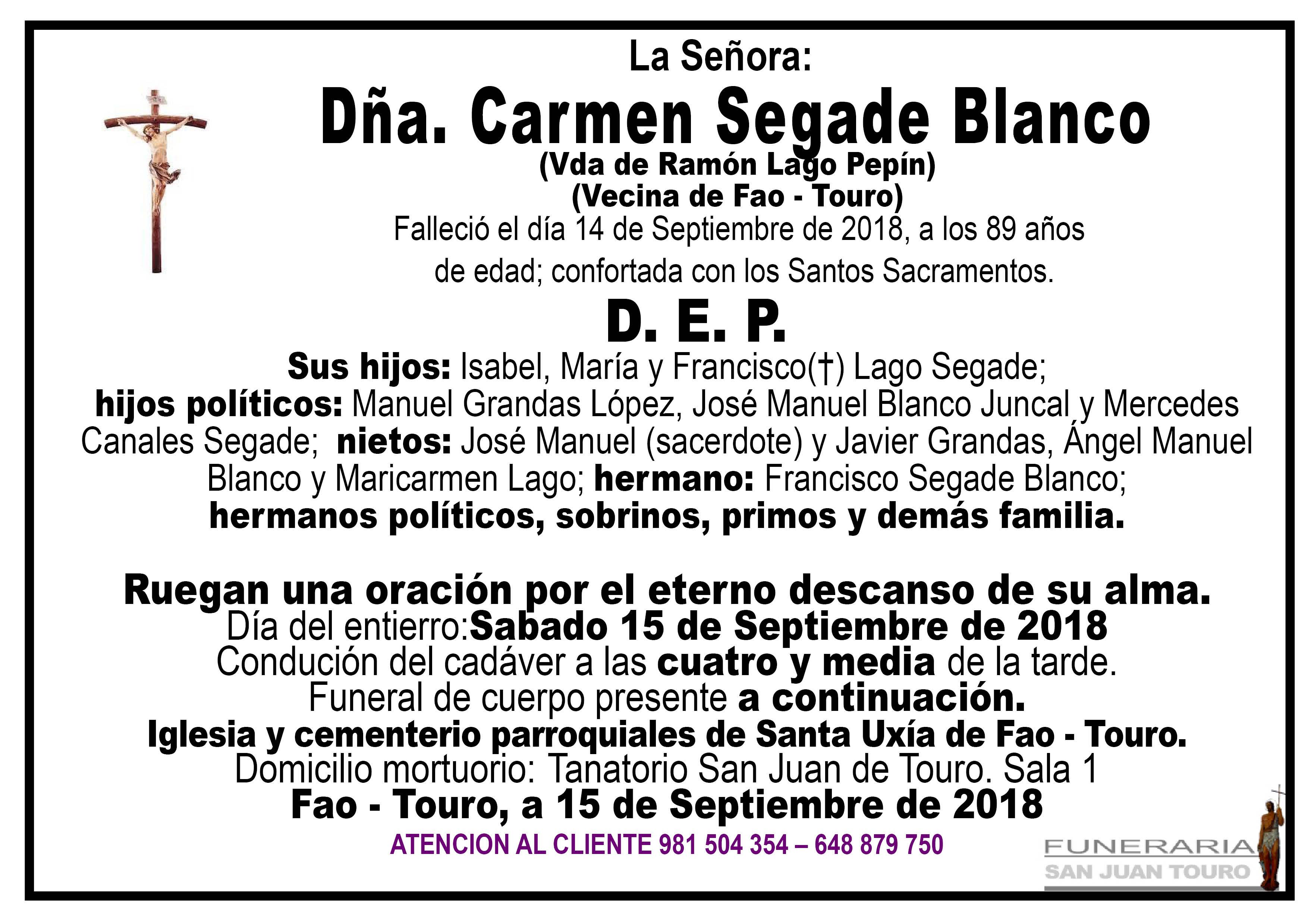 Esquela de SEPELIO DE DOÑA CARMEN SEGADE BLANCO