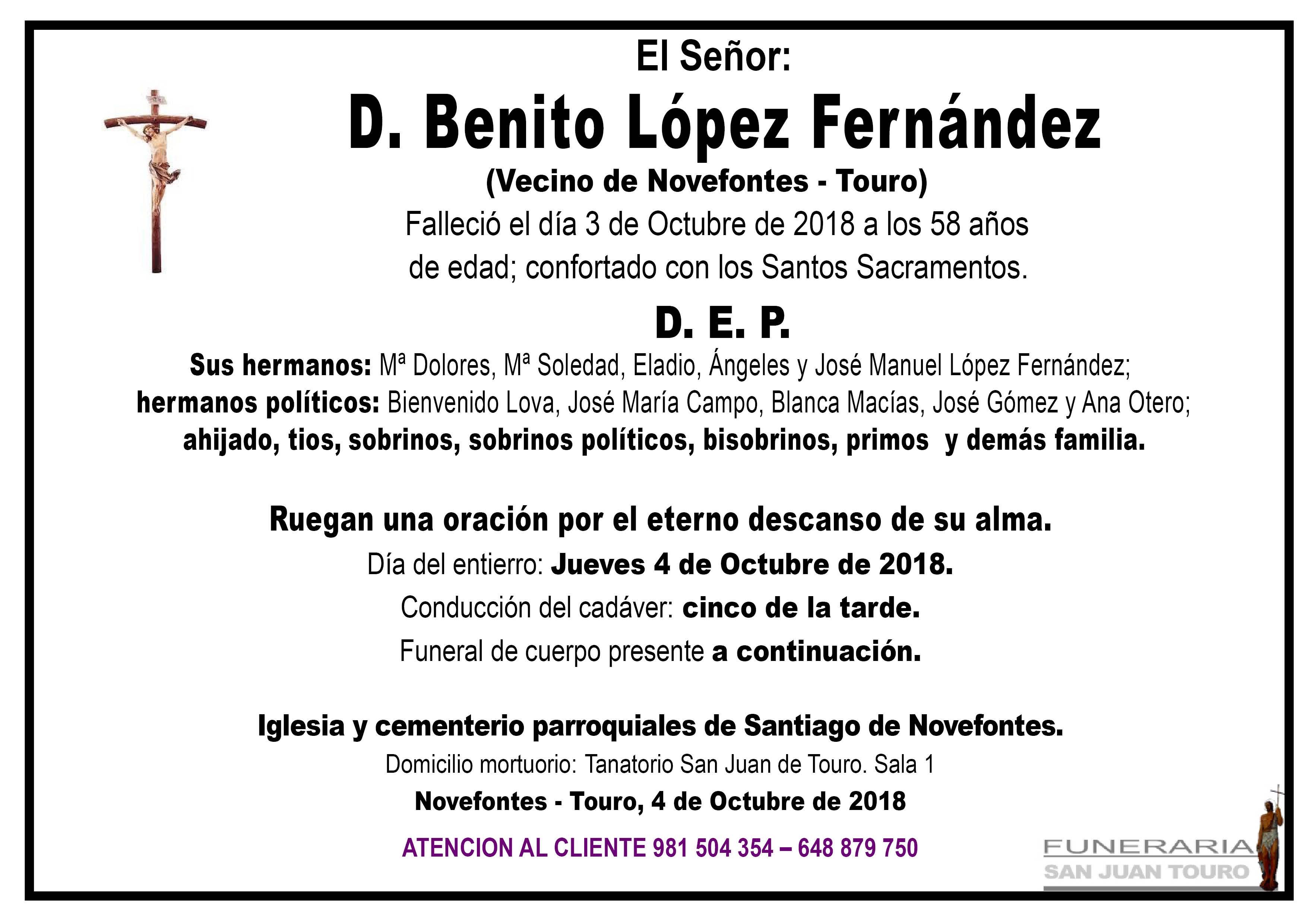 Esquela de SEPELIO DE DON BENITO LÓPEZ FERNÁNDEZ