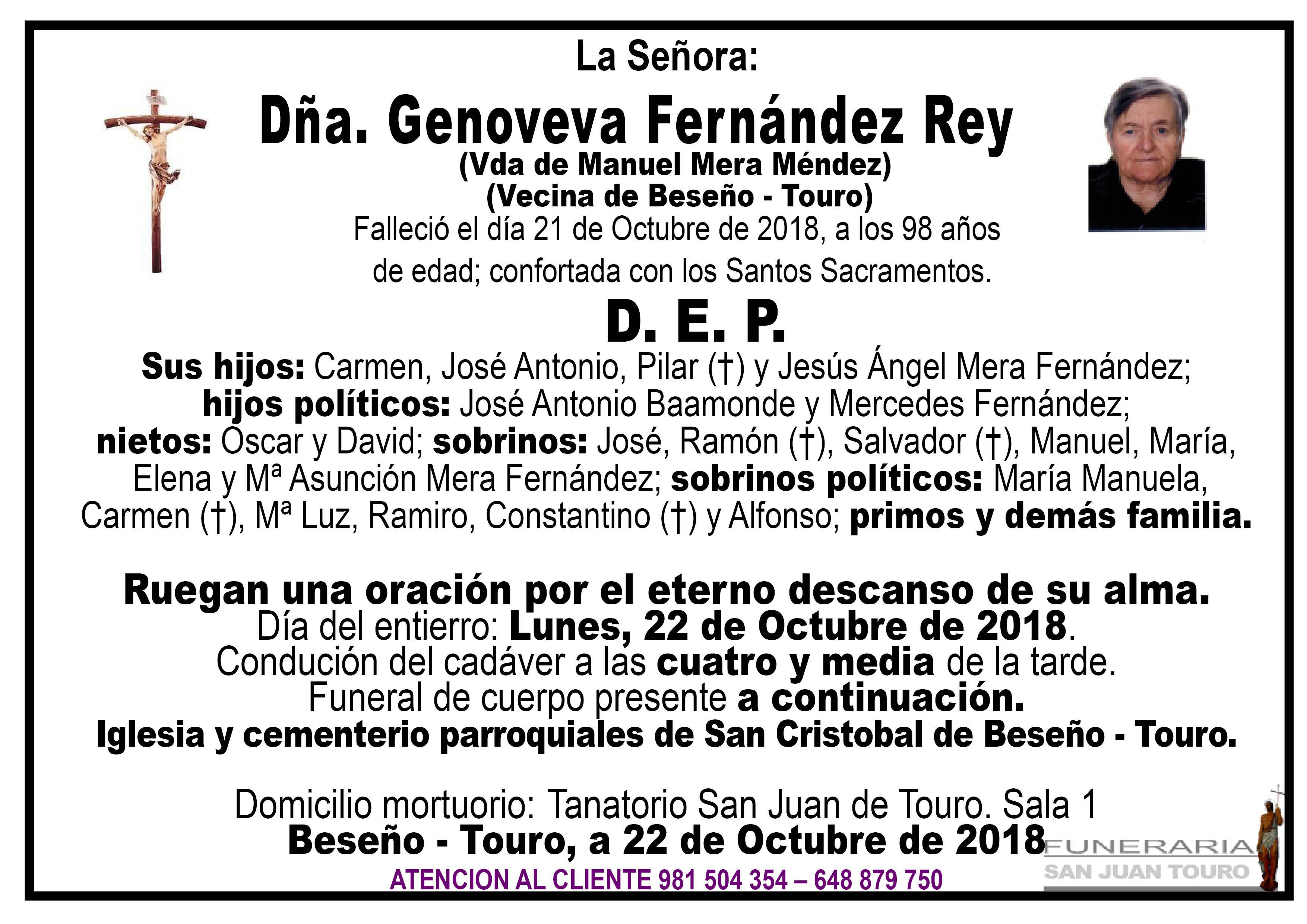 Esquela de SEPELIO DE DOÑA GENOVEVA FERNÁNDEZ REY