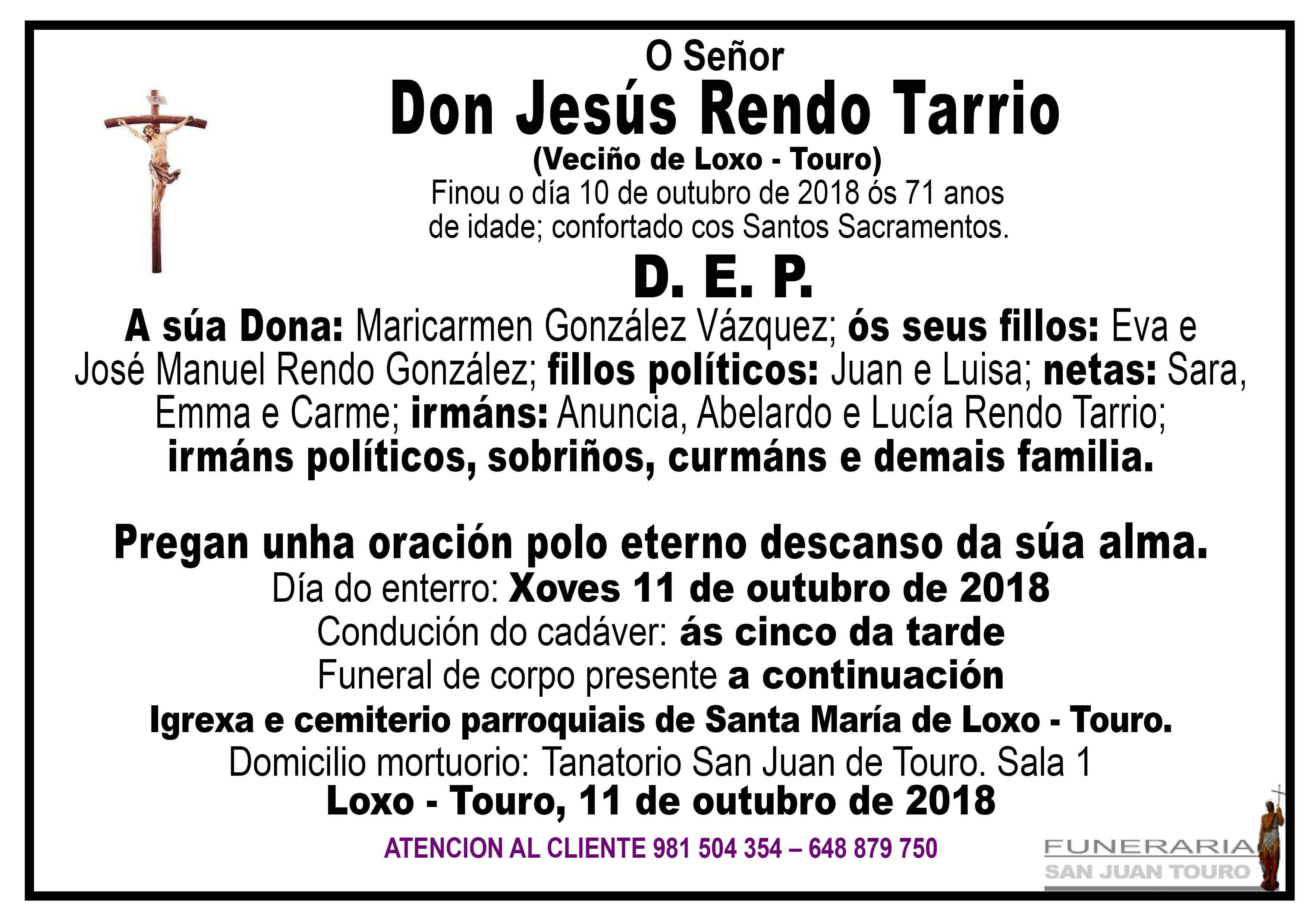 Esquela de SEPELIO DE DON JESÚS RENDO TARRIO