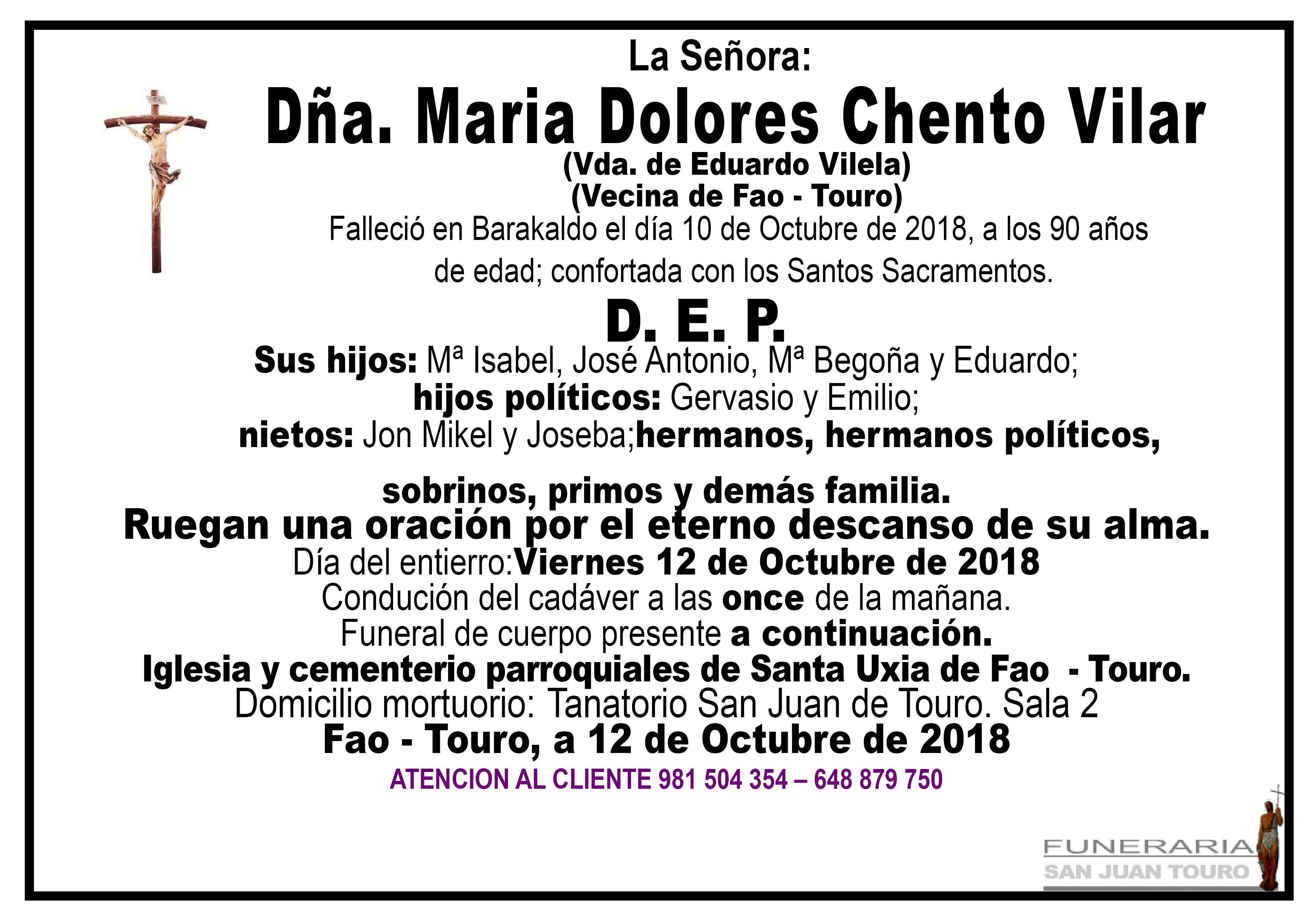 Esquela de SEPELIO DE DOÑA MARÍA DOLORES CHENTO VILAR