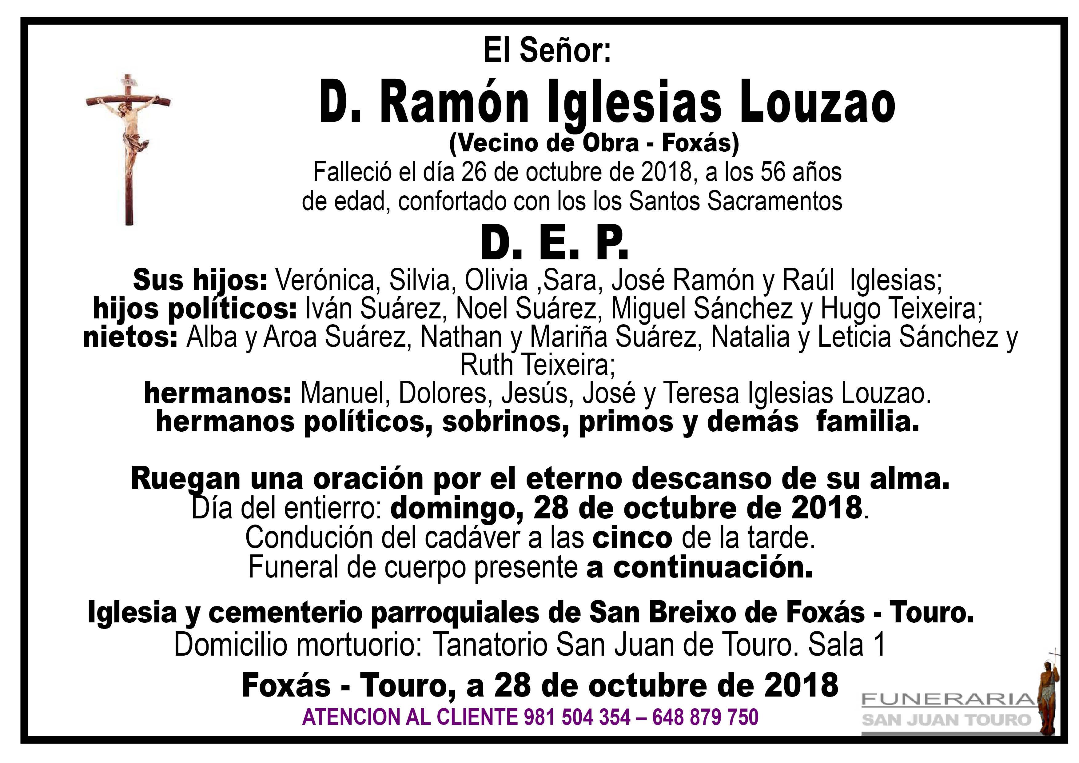 Esquela de SEPELIO DE DON RAMÓN IGLESIAS LOUZAO