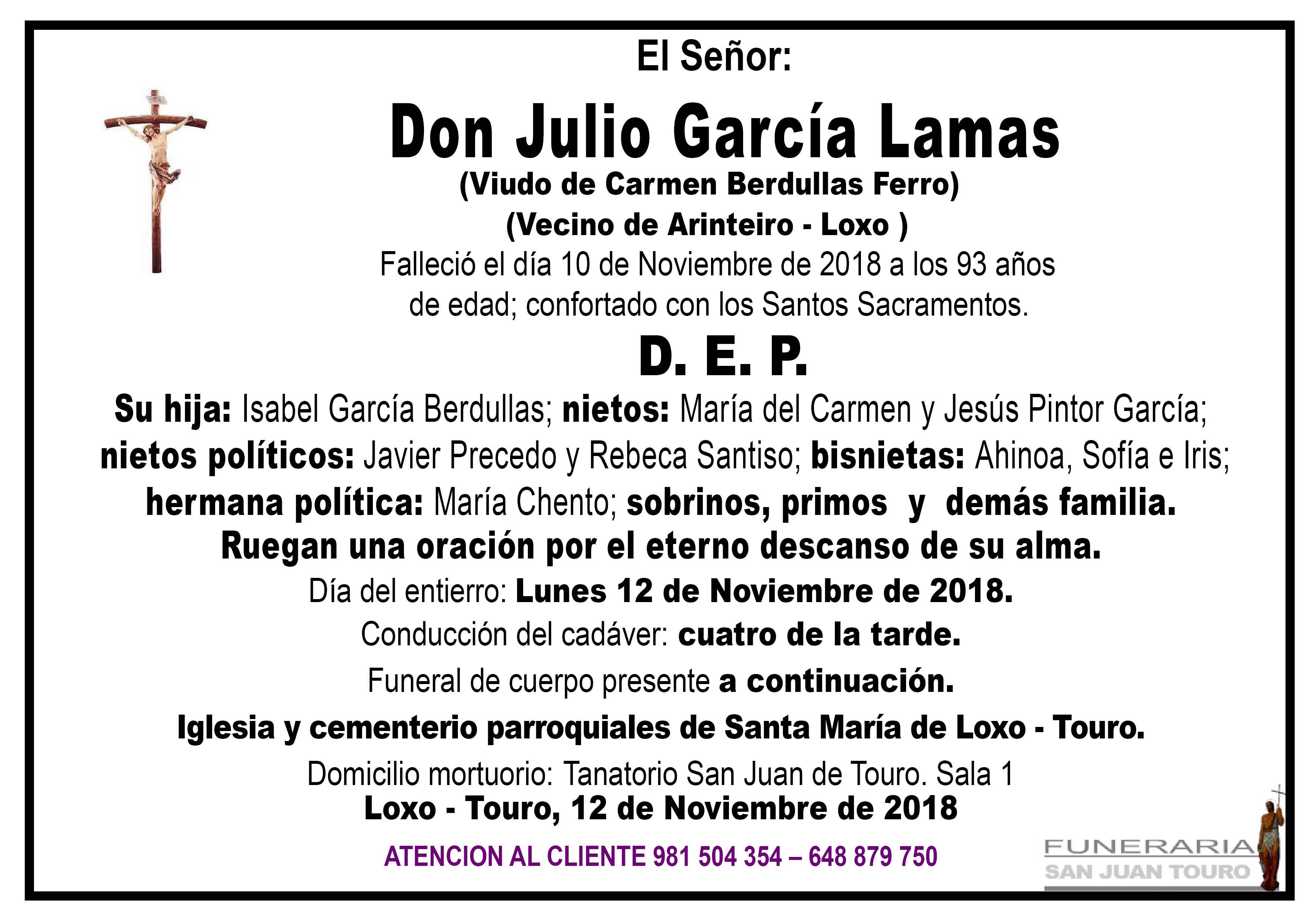 Esquela de SEPELIO DE DON JULIO GARCÍA LAMAS