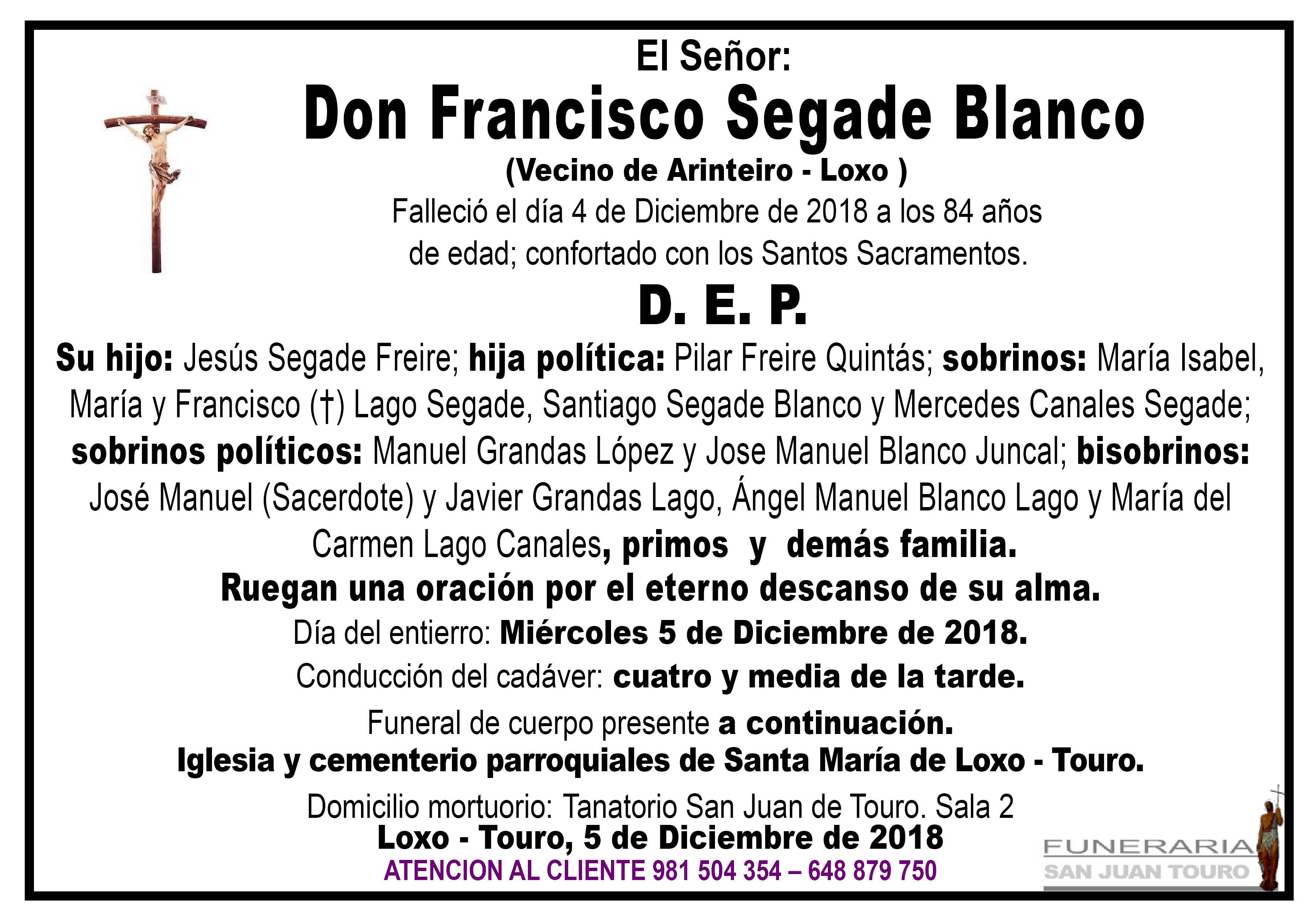 Esquela de SEPELIO DE DON FRANCISCO SEGADE BLANCO