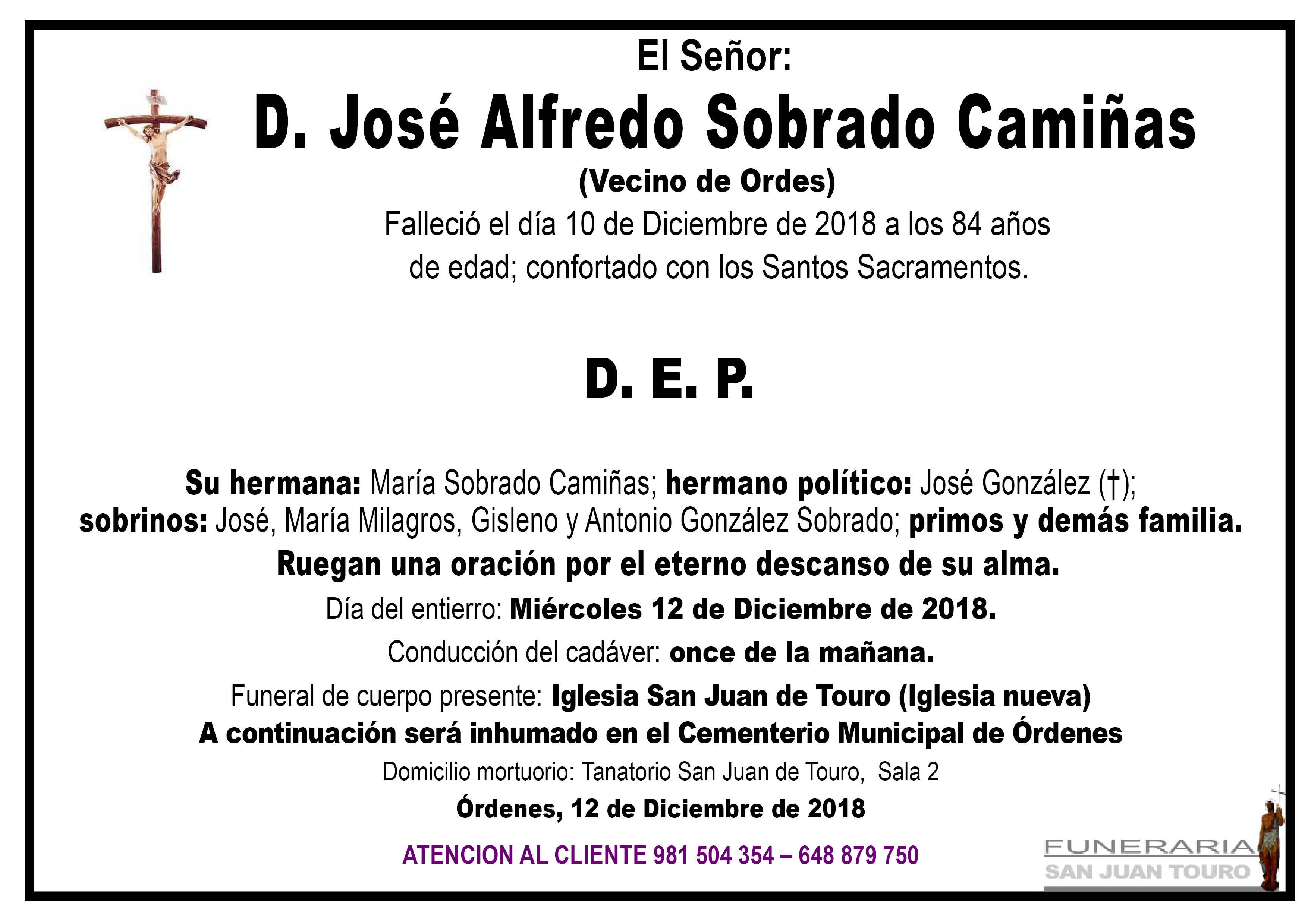 Esquela de SEPELIO DE D. JOSÉ ALFREDO SOBRADO CAMIÑAS