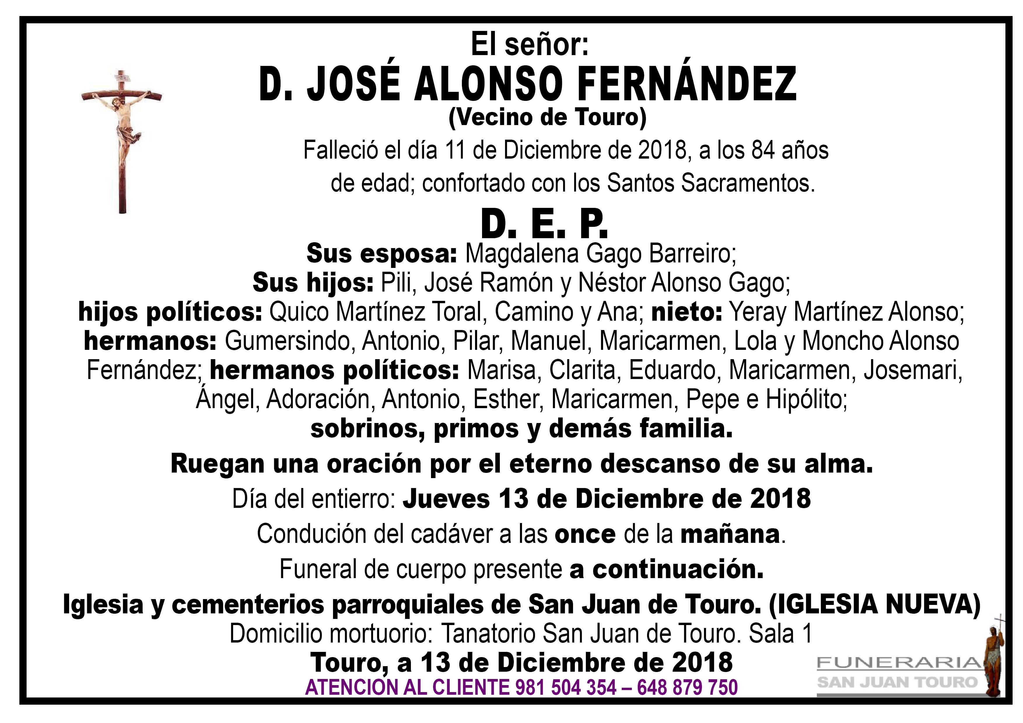 Esquela de SEPELIO DE D. JOSÉ ALONSO FERNÁNDEZ