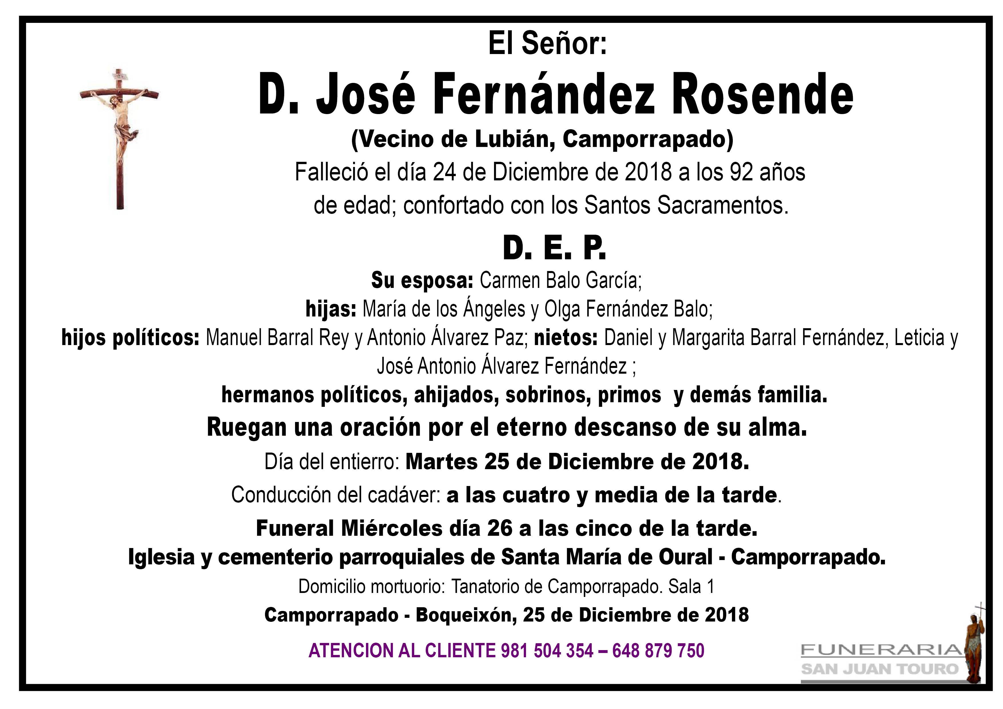 Esquela de SEPELIO DE DON JOSÉ FERNÁNDEZ ROSENDE