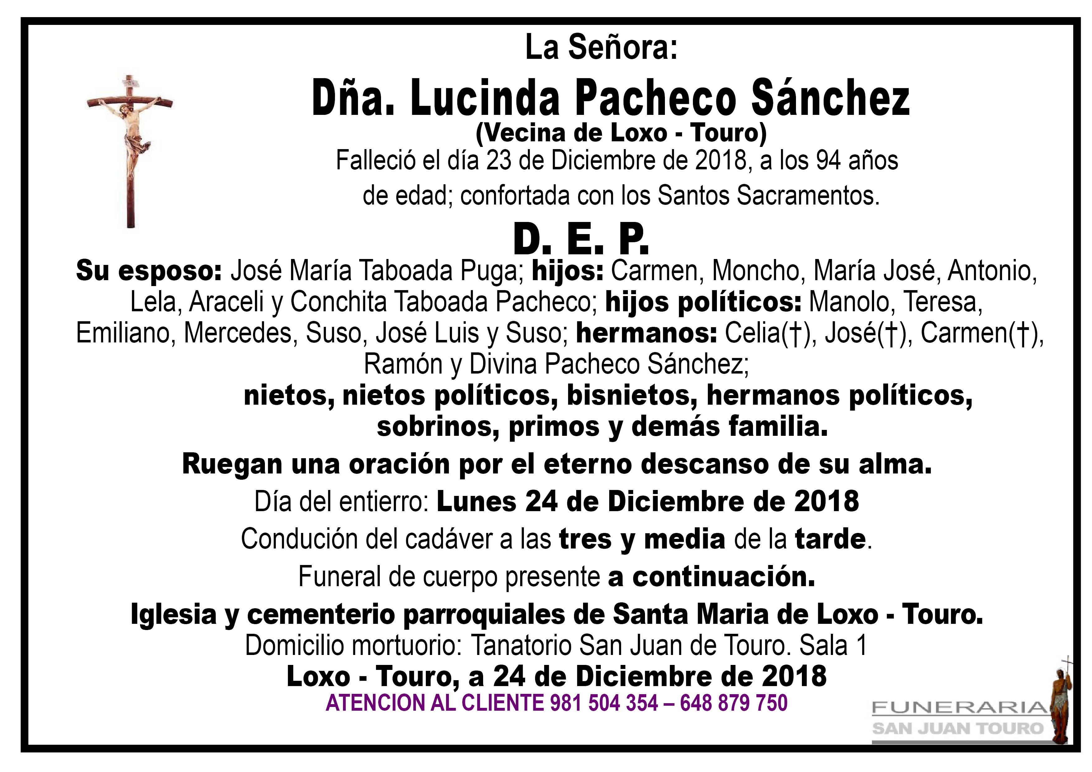 Esquela de SEPELIO DE DOÑA LUCINDA PACHECO SÁNCHEZ