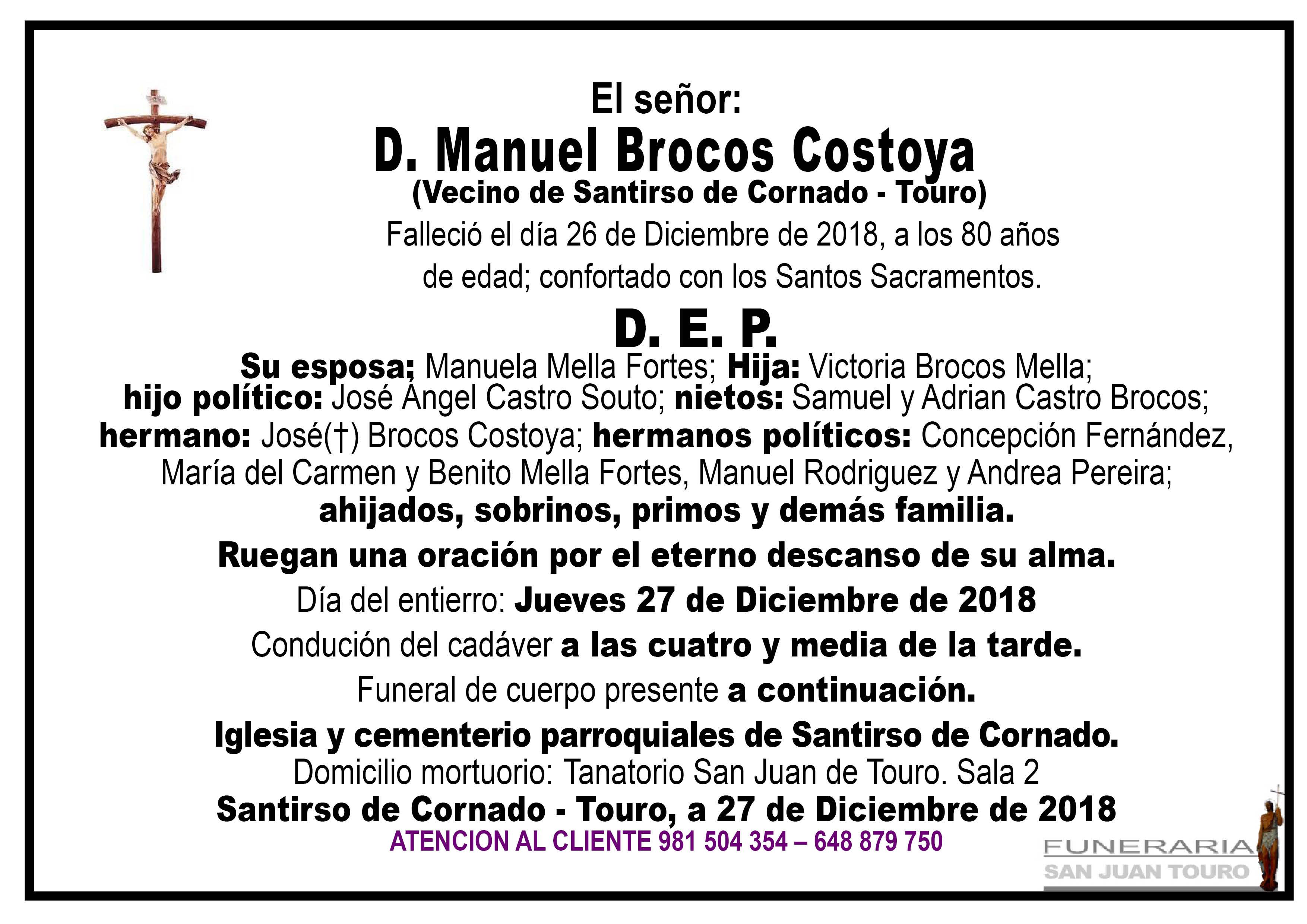 Esquela de SEPELIO DE DON MANUEL BROCOS COSTOYA