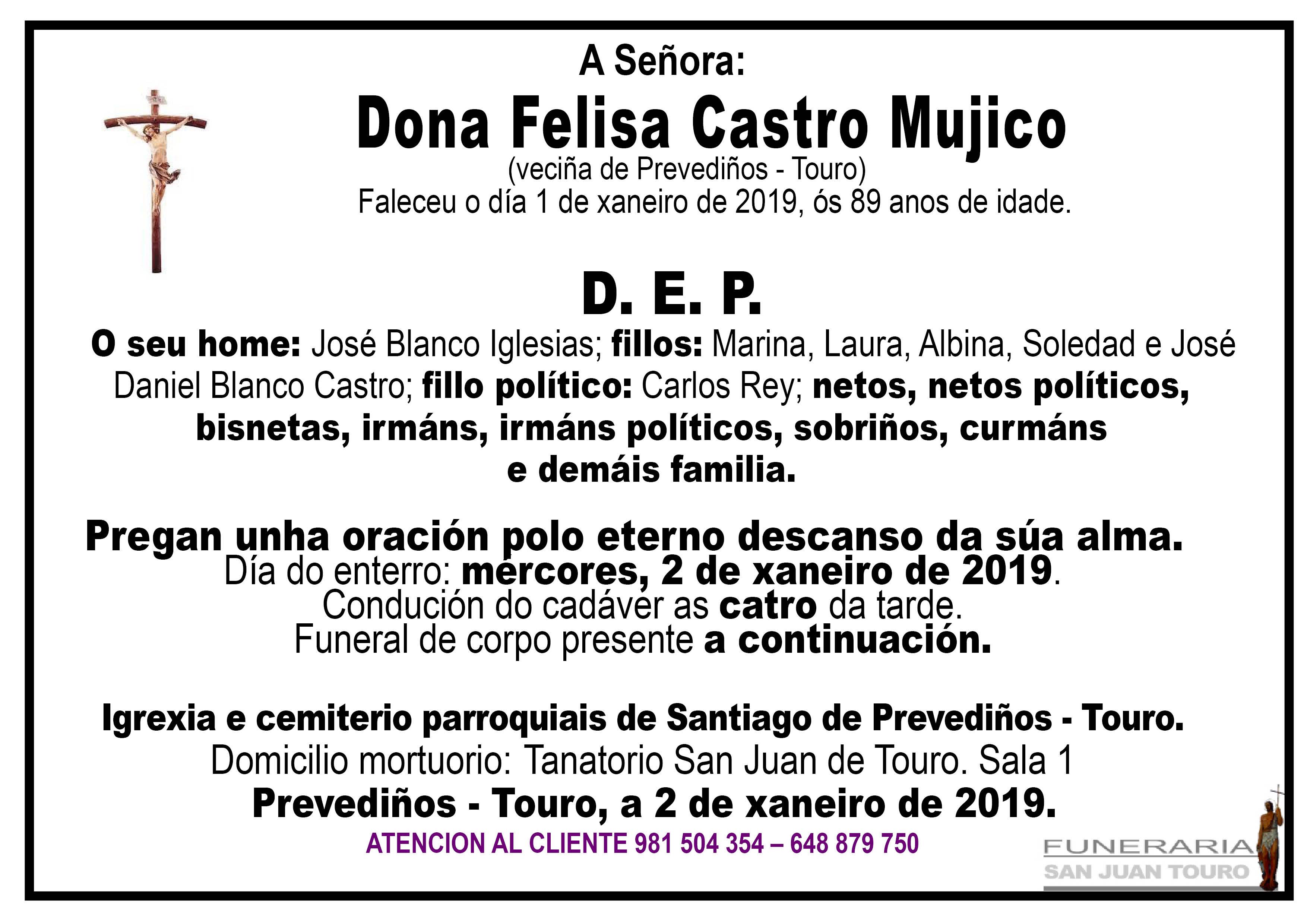 Esquela de SEPELIO DE DONA FELISA CASTRO MUJICO
