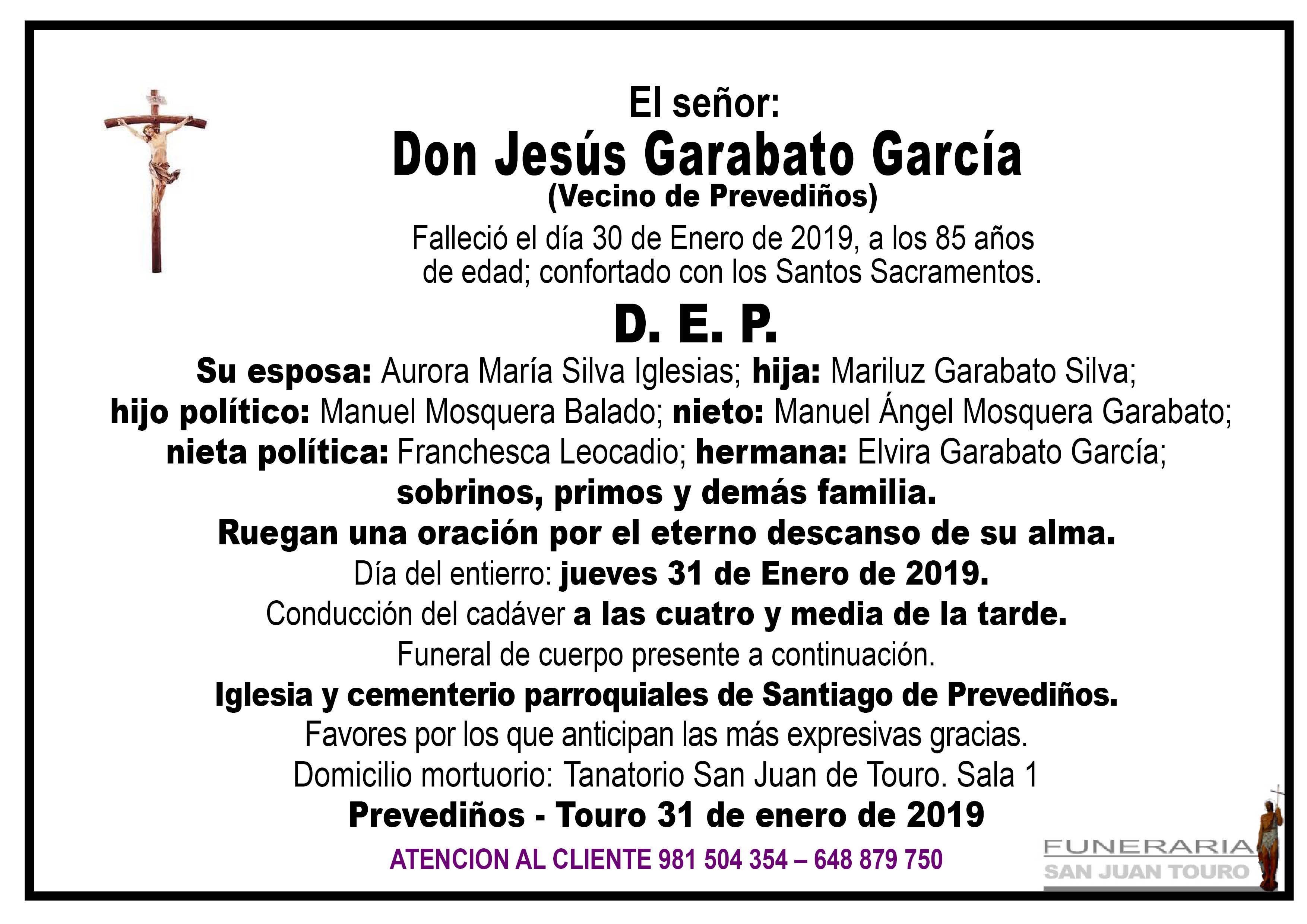 Esquela de SEPELIO DE DON JESÚS GARABATO GARCÍA