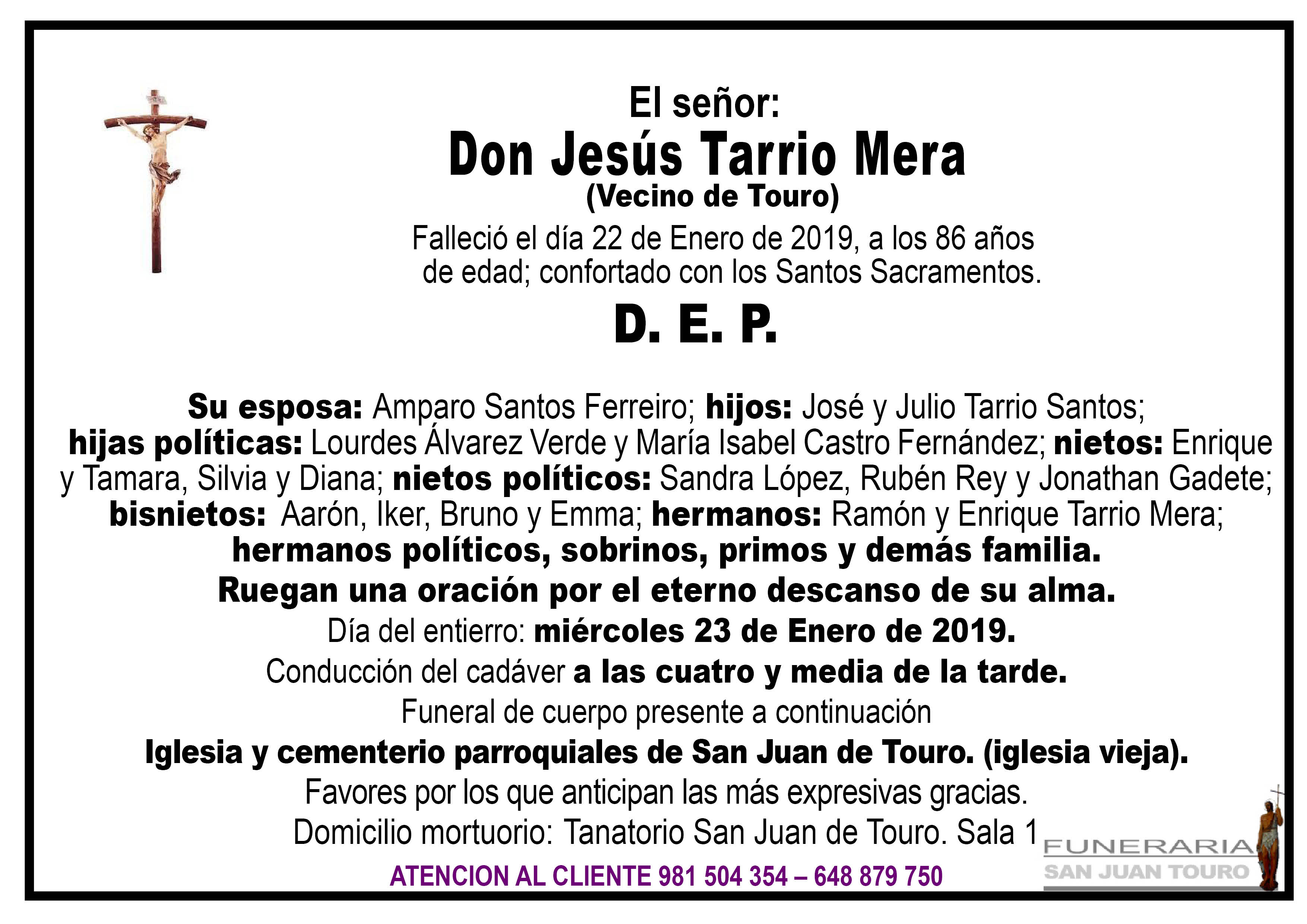 Esquela de SEPELIO DE DON JESÚS TARRIO MERA