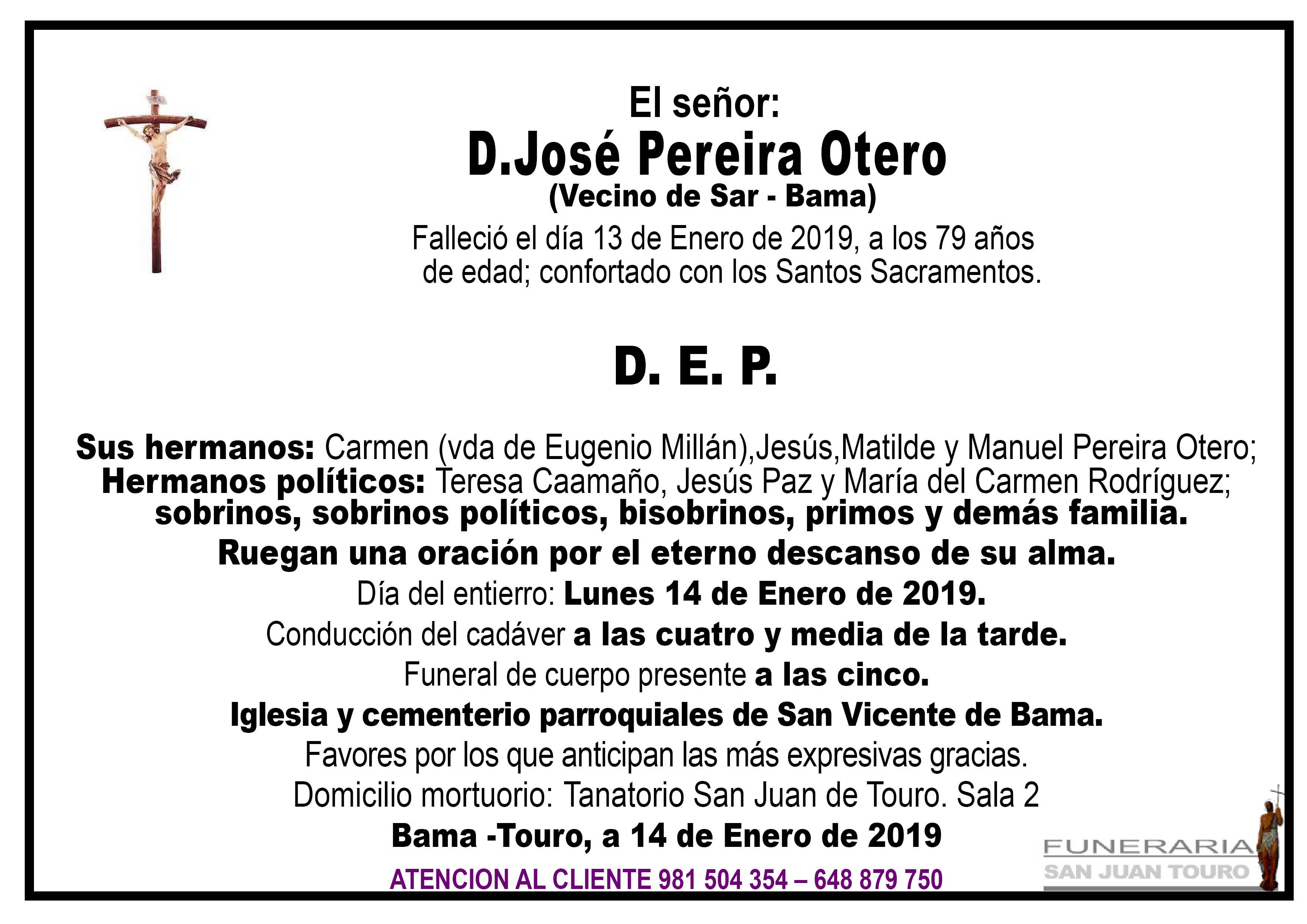 Esquela de SEPELIO DE DON JOSÉ PEREIRA OTERO