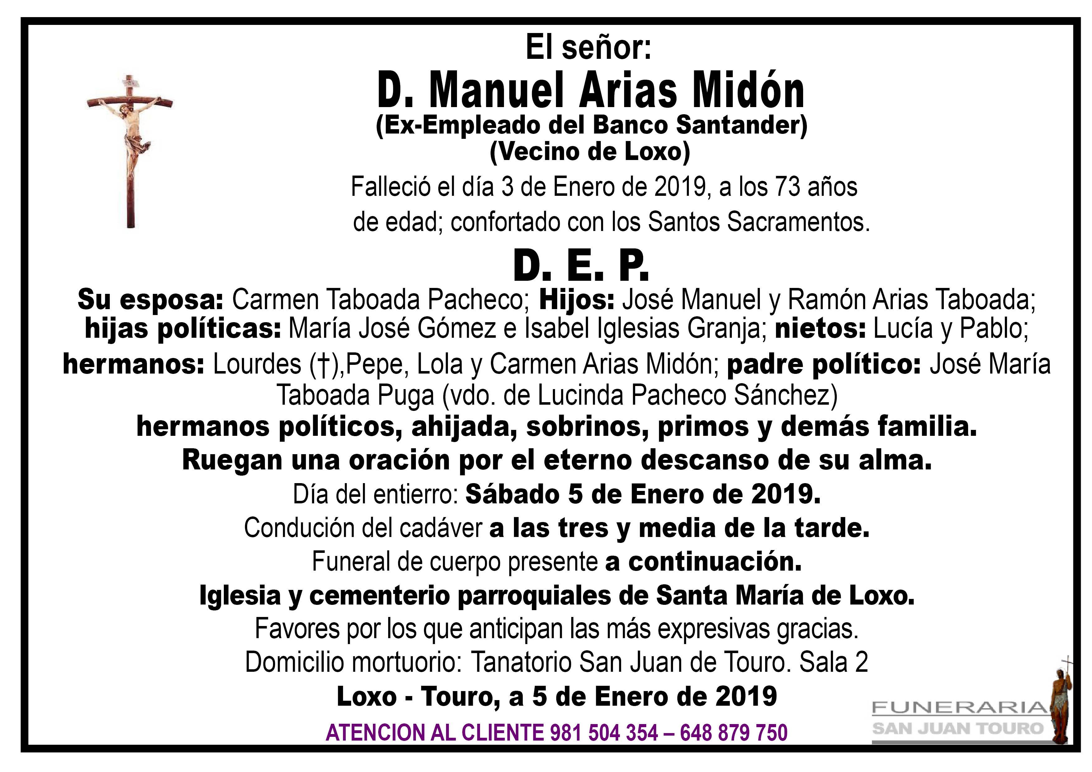 Esquela de SEPELIO DE DON MANUEL ARIAS MIDÓN