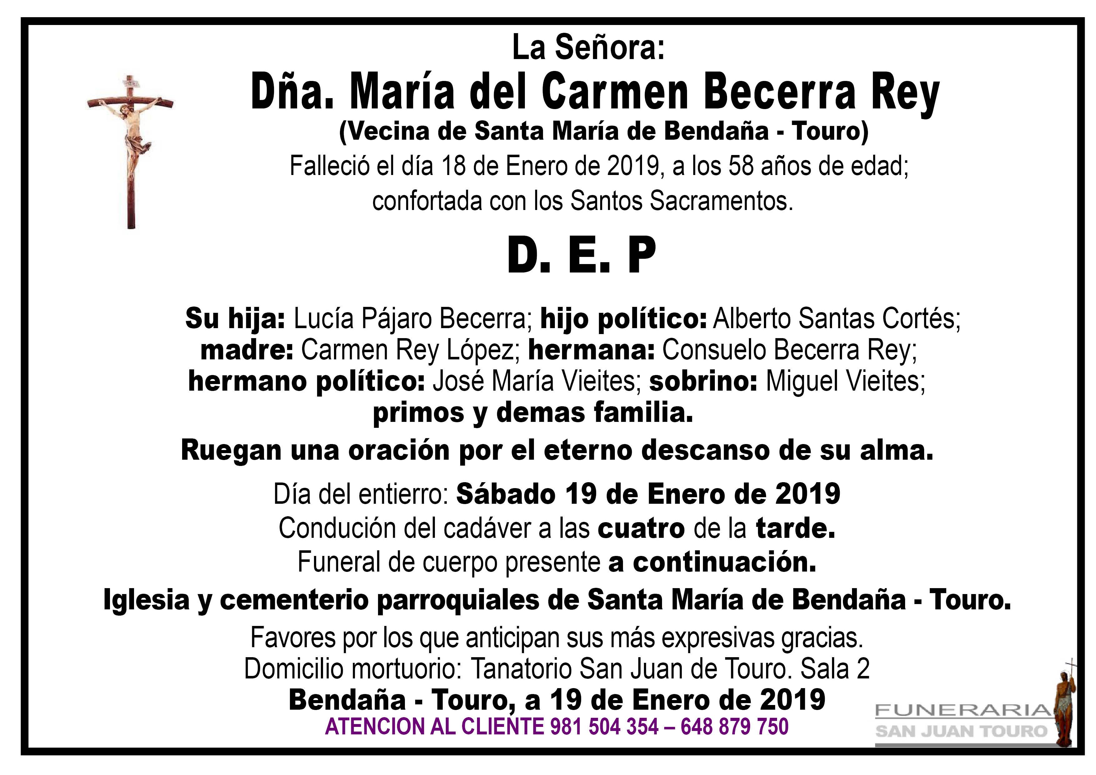 Esquela de SEPELIO DE DOÑA MARÍA DEL CARMEN BECERRA REY