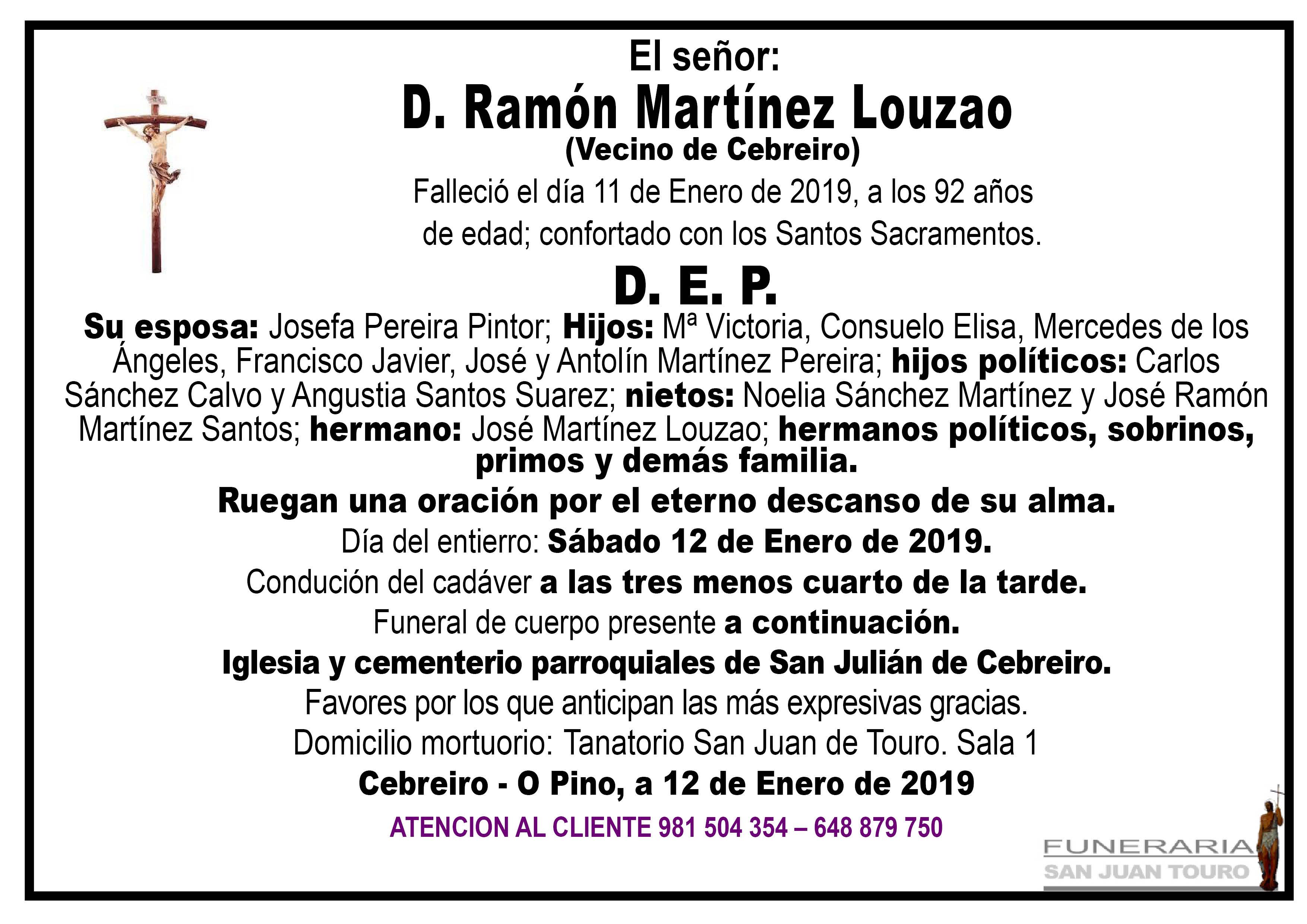 Esquela de SEPELIO DE DON RAMÓN MARTÍNEZ LOUZAO