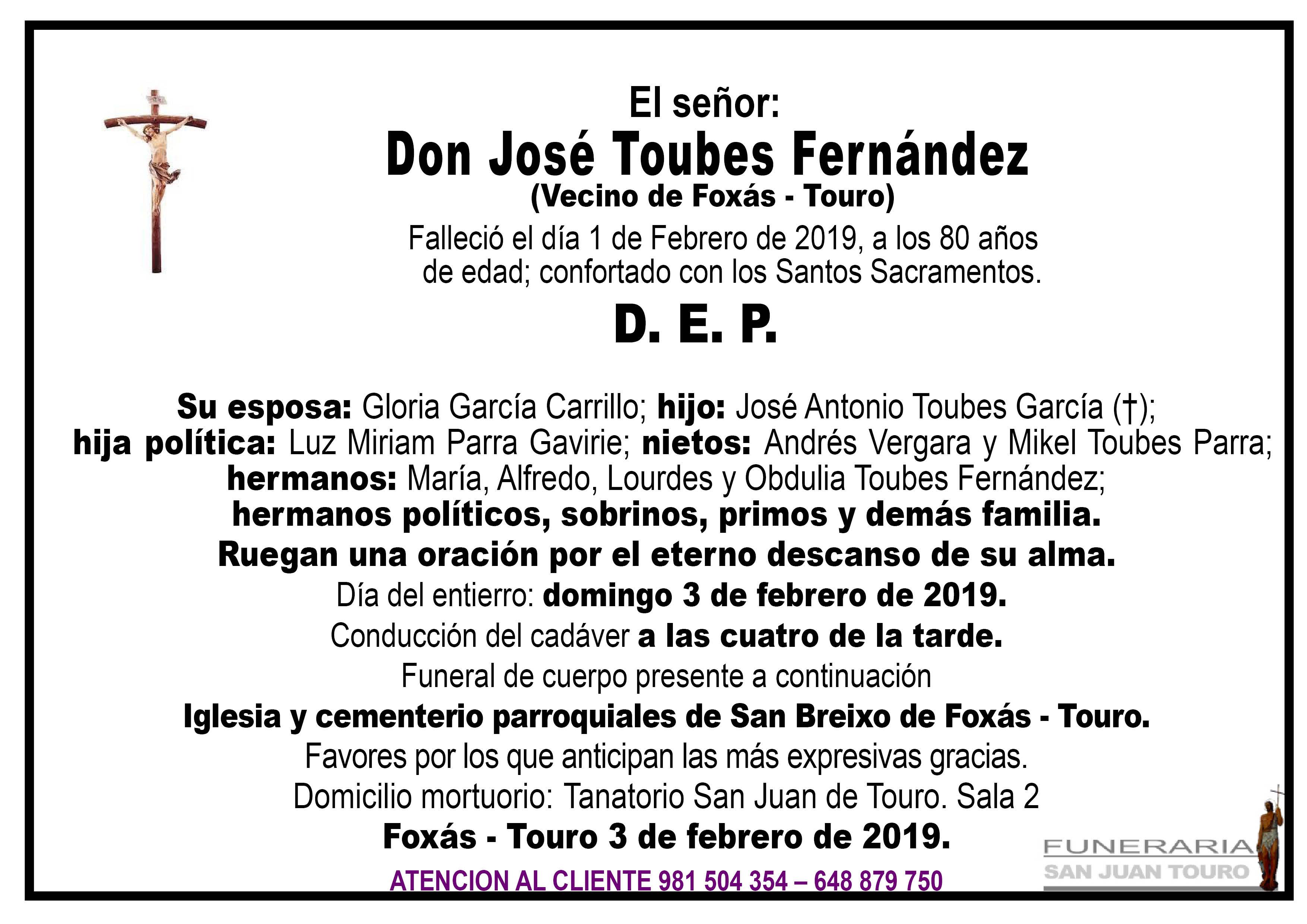 Esquela de SEPELIO DE DON JOSÉ TOUBES FERNÁNDEZ