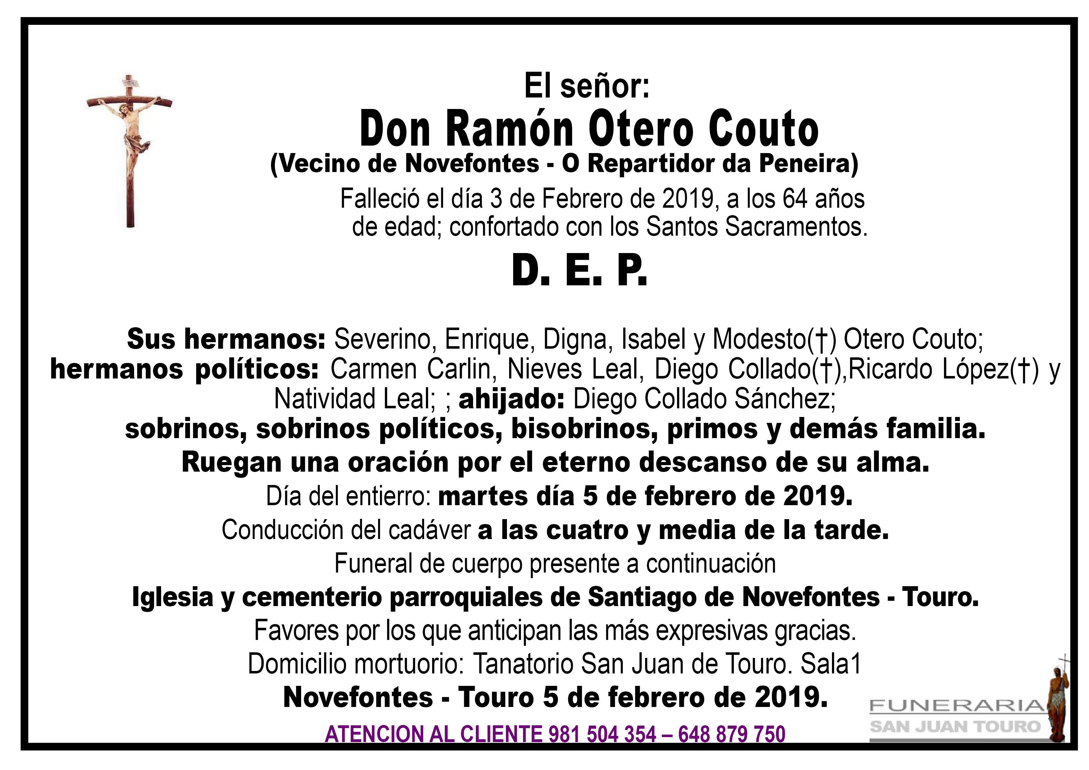 Esquela de SEPELIO DE DON RAMÓN OTERO COUTO